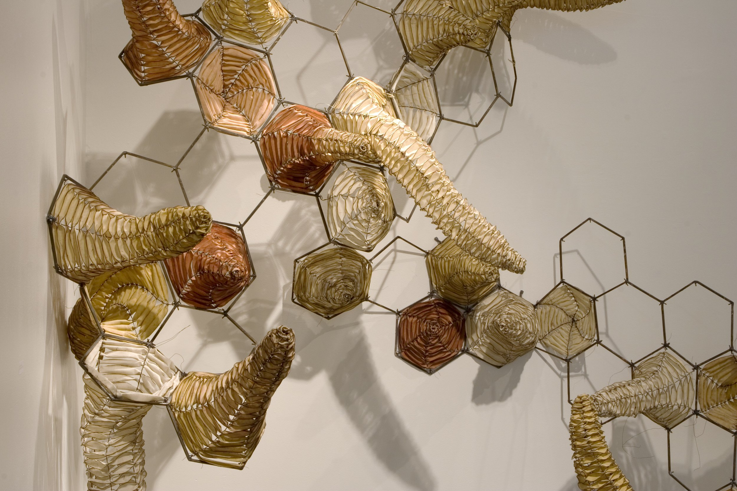 """Emergent Properties, (detail) 2005, Waxed cloth, steel, wire, 120"""" x 144"""" x 36"""""""