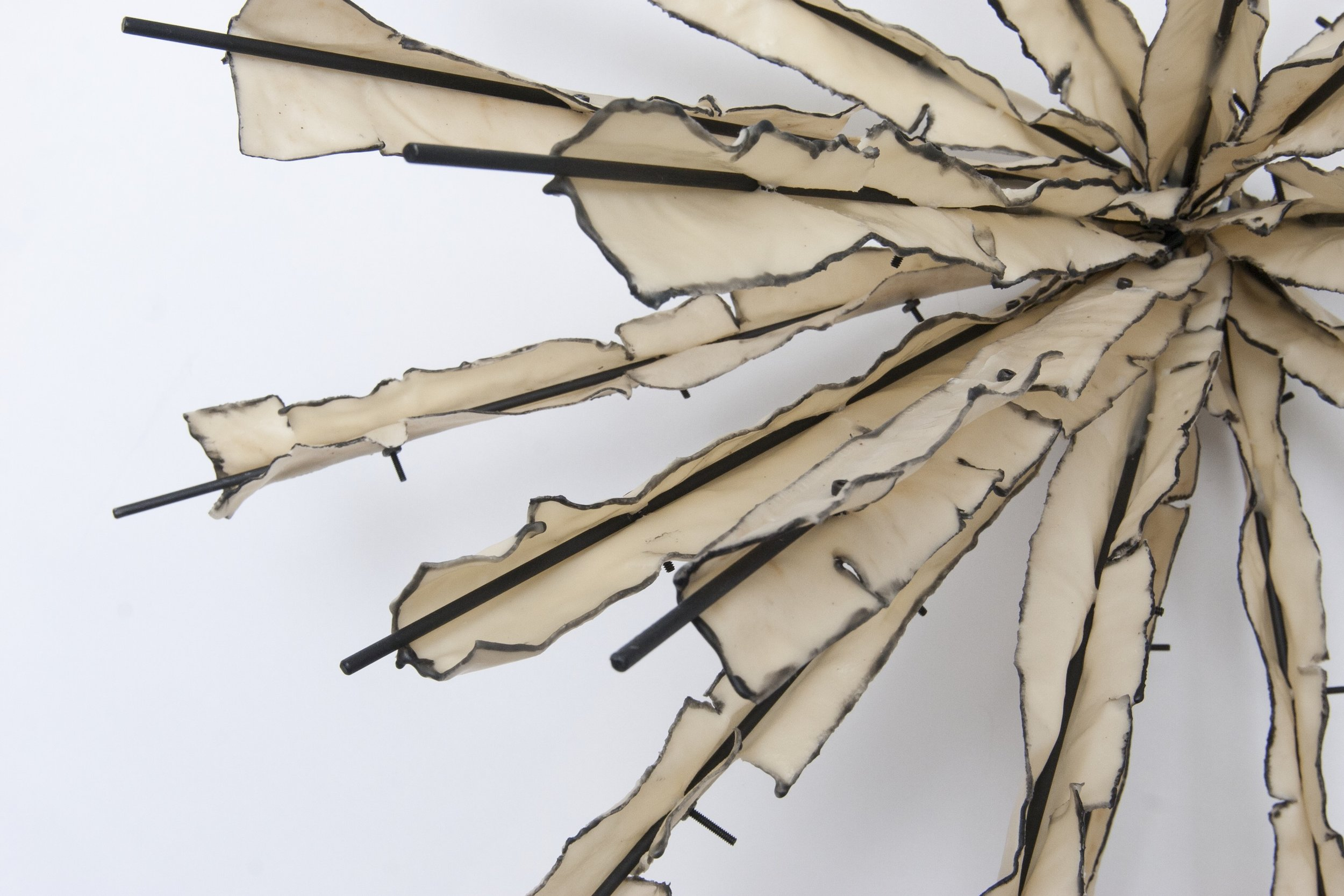 "Mechanics of Hither and Yon #30, (detail), 2011, Waxed cloth, nuts, bolts, welded steel, 36"" x 36"" x 19"""