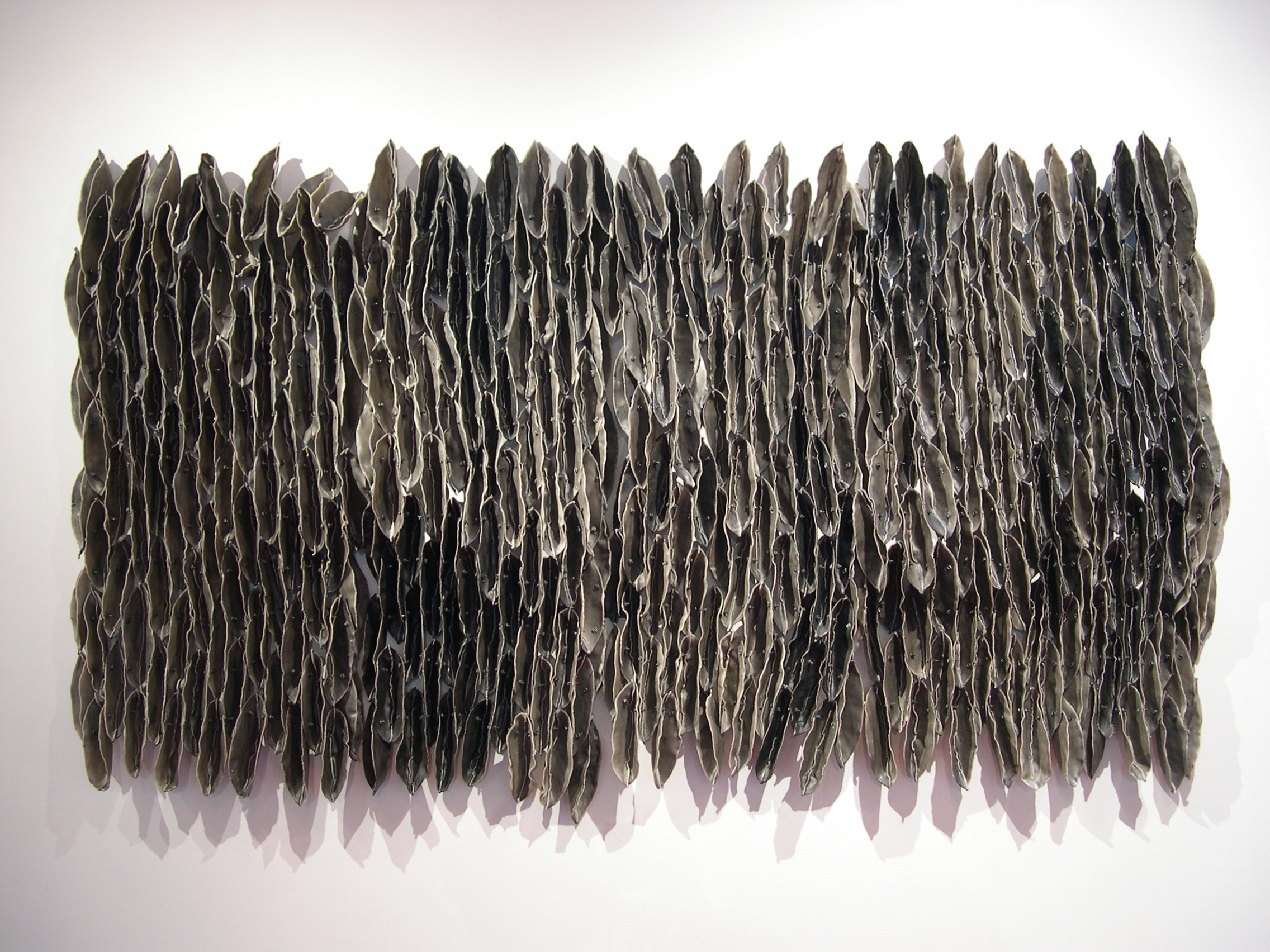 "Low Tide (Dark), 2007, Waxed cloth, nuts, bolts, welded steel, 51"" x 90"" x 7"""