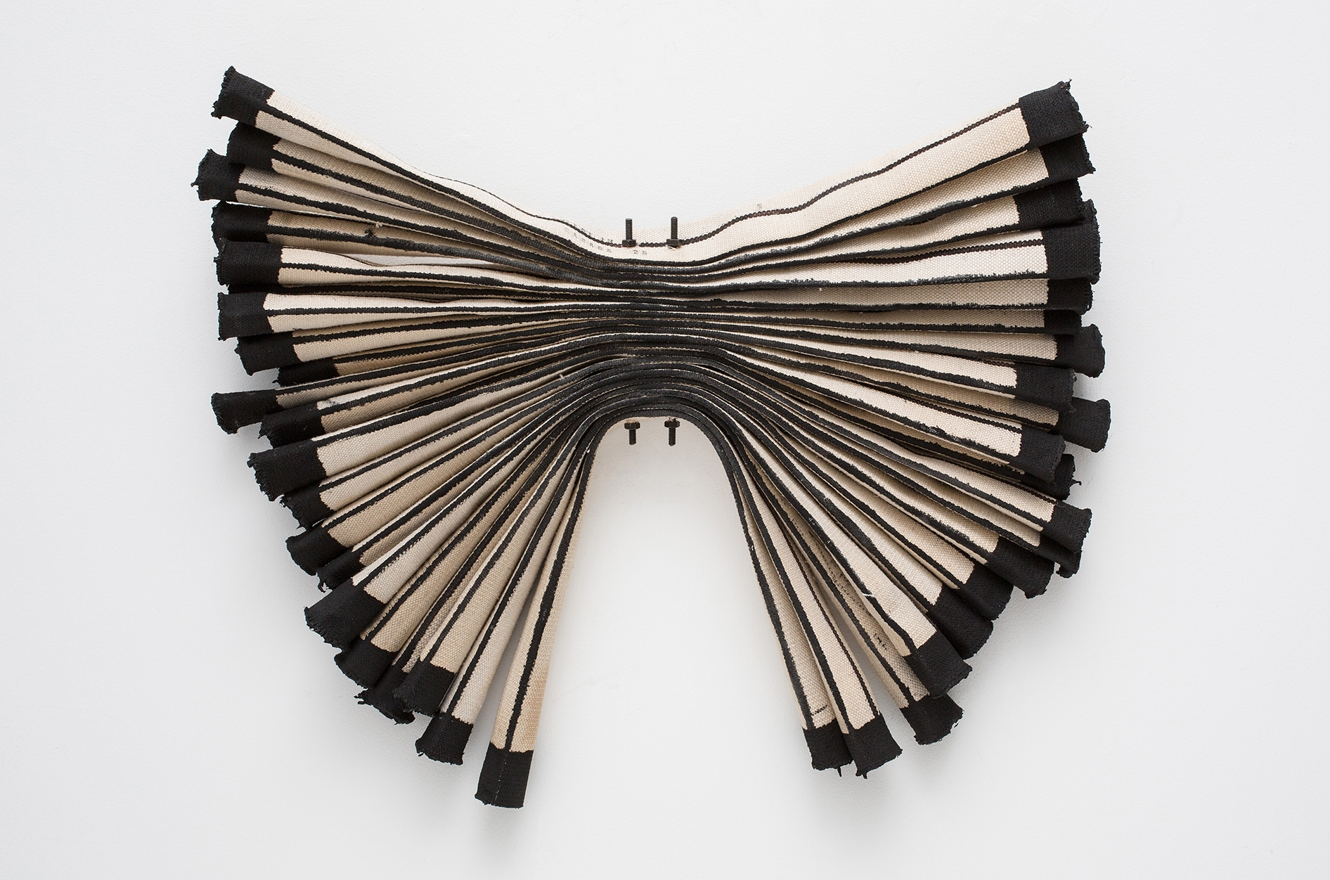Firehose Experiment #3, 2015, Deconstructed linen firehose, paint, threaded rods, nuts, 24 x 28 x 3 inches_CaFe.jpg