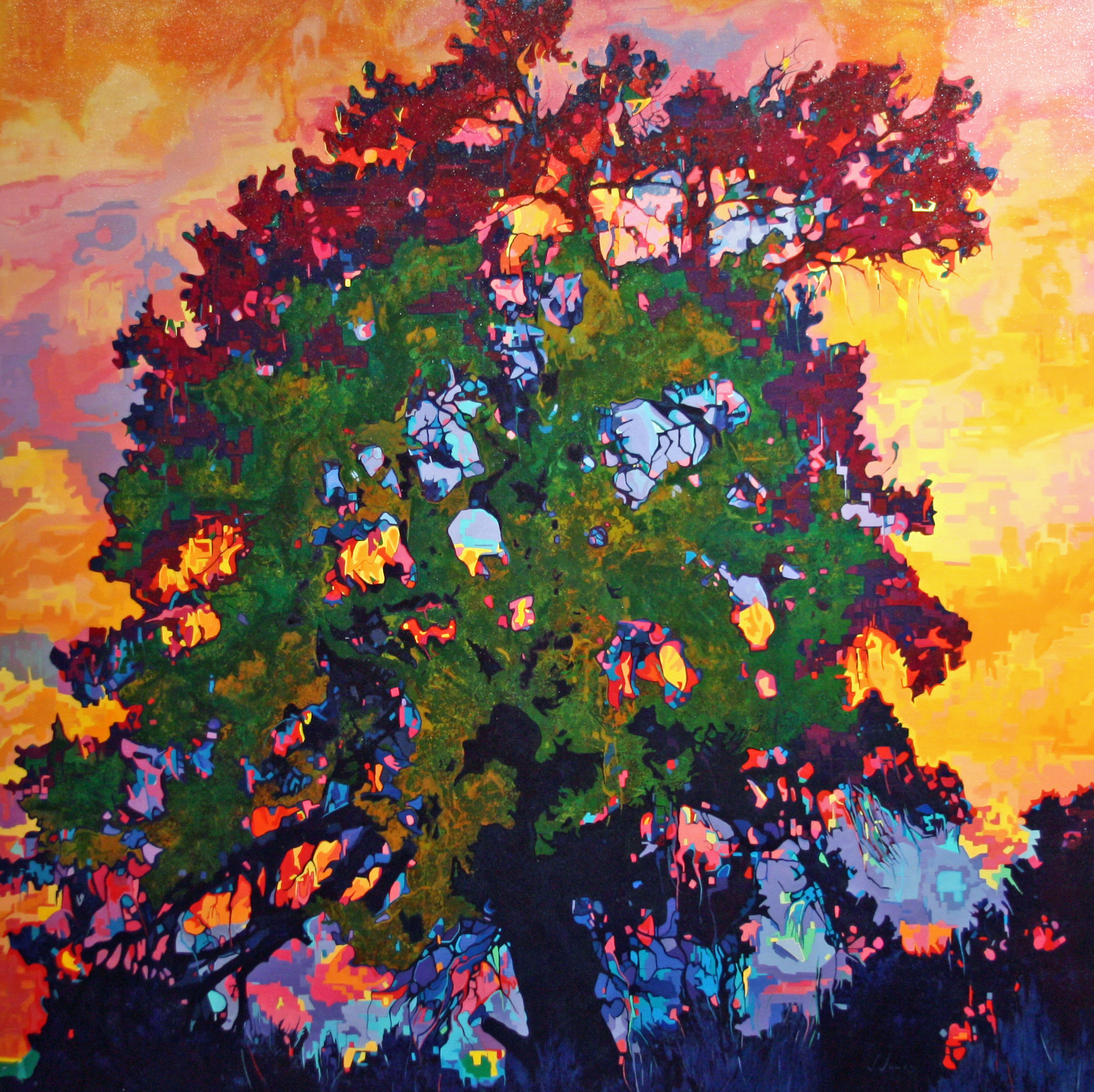 "Tree Jubilee, 48"" x 48"" Oil on Canvas"