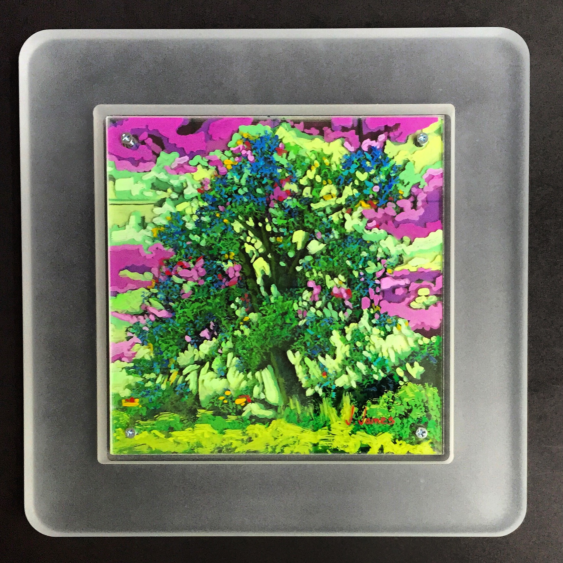"Tequila Lime, 8"" x 8"" Acrylic on Multi-Layered Acrylic Glass"