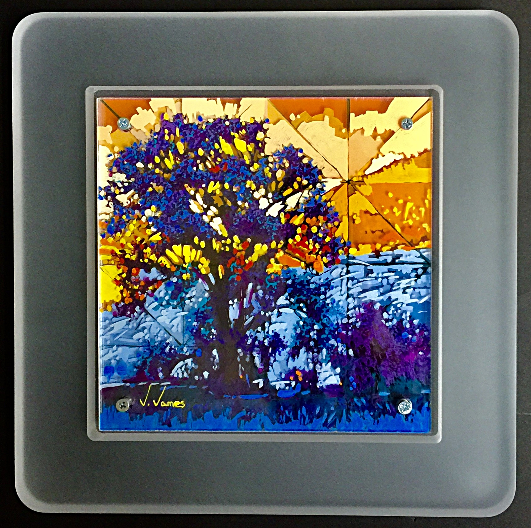 "Where The Fish Run, 8"" x 8"" Acrylic on Multi-Layered Acrylic Glass"