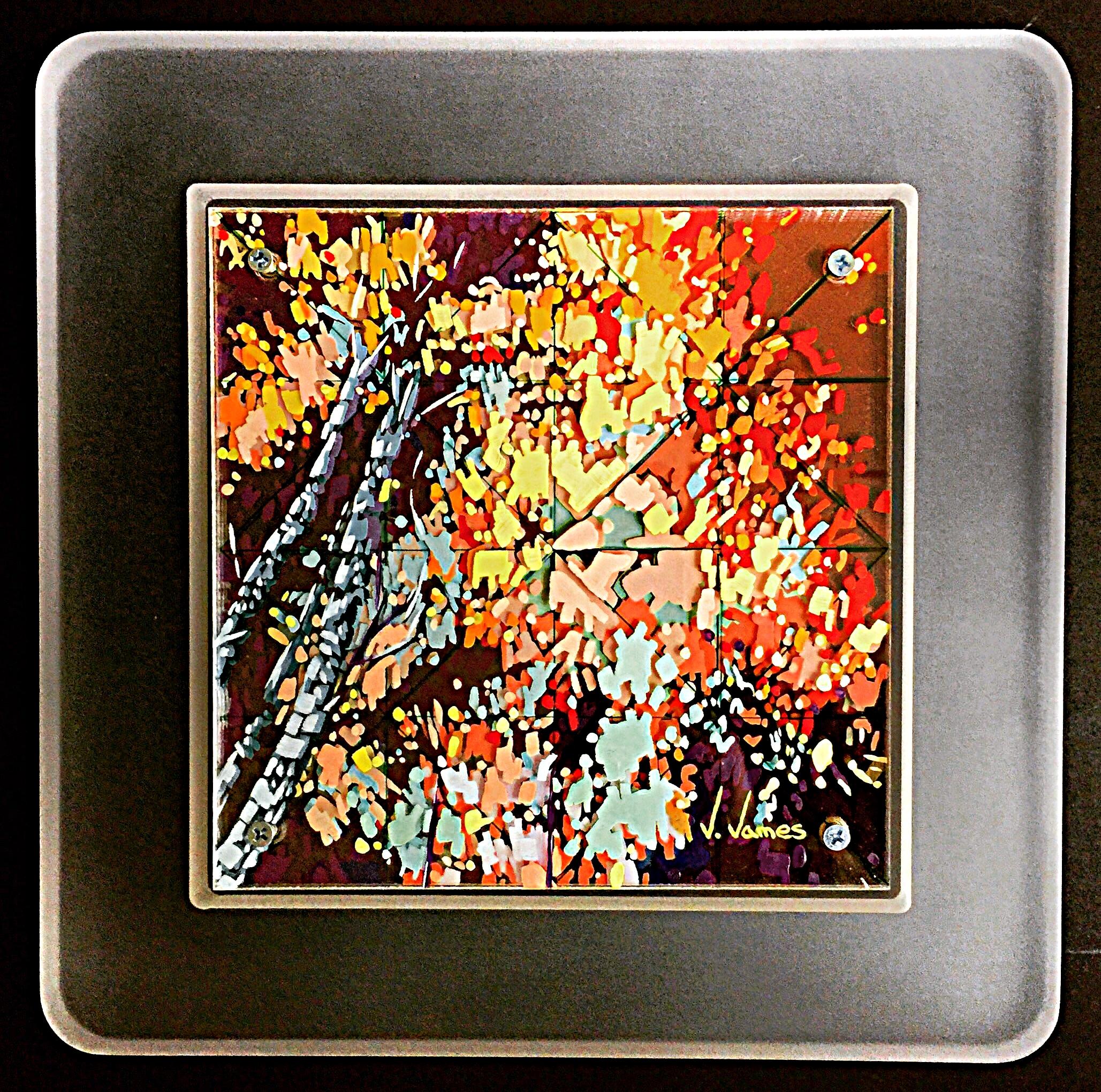"Wind Chimes, 8"" x 8"" Acrylic on Multi-Layered Acrylic Glass"
