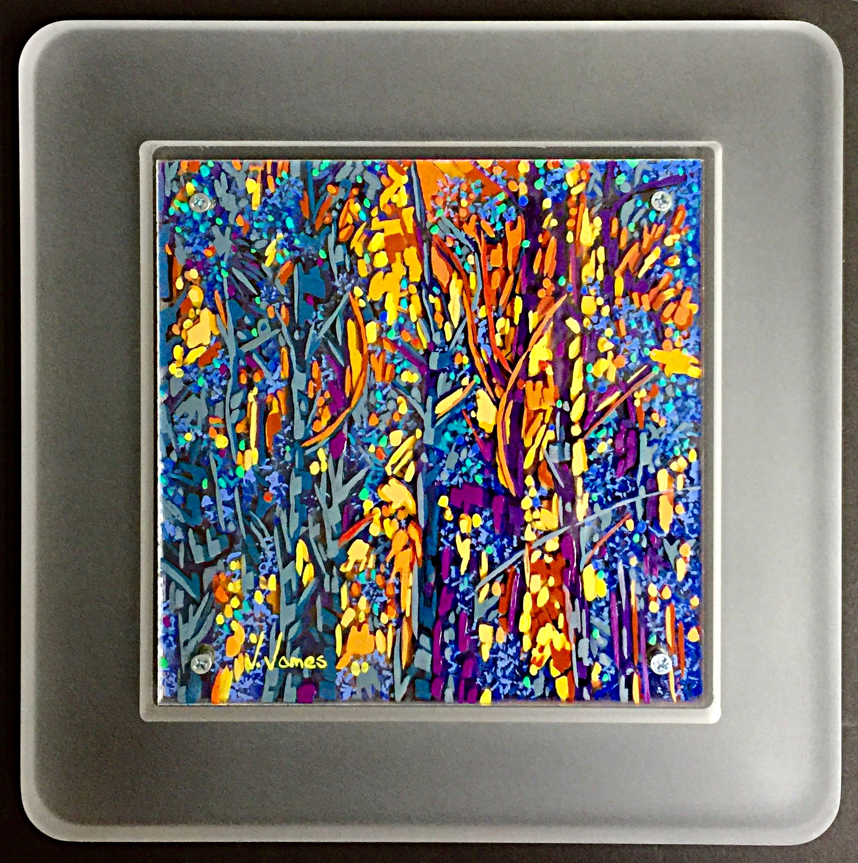 """Can We See The Forest For The Trees?, 8"""" x 8"""" Acrylic on Multi-Layered Acrylic Glass"""