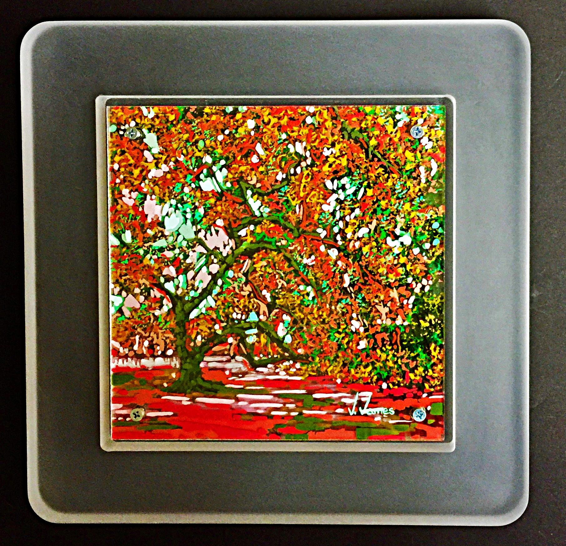 "Reverie, 8"" x 8"" Acrylic on Multi-Layered Acrylic Glass"