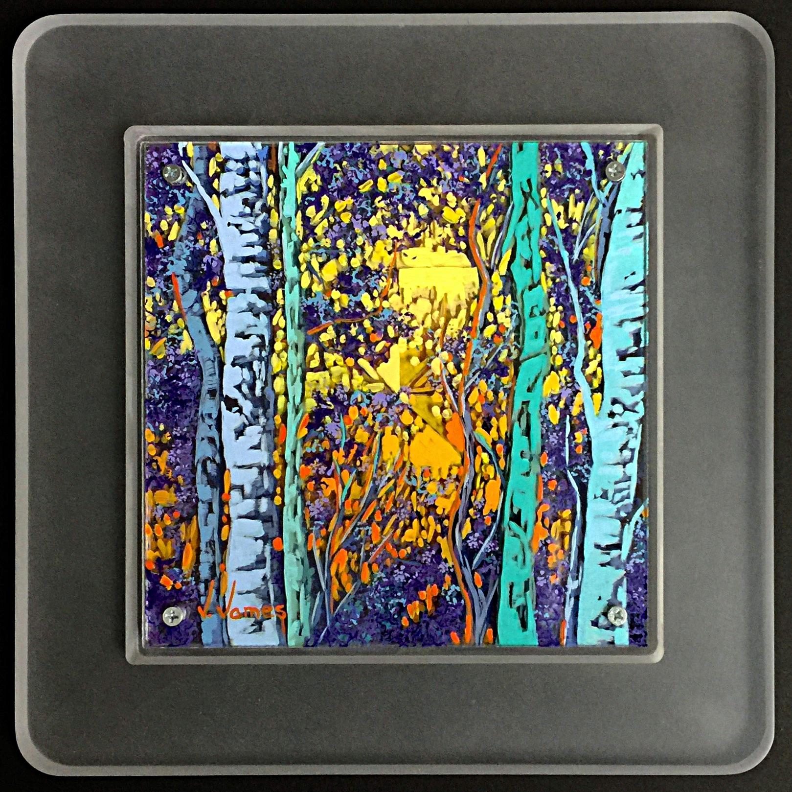 "Glimmer, 8"" x 8"" Acrylic on Multi-Layered Acrylic Glass"