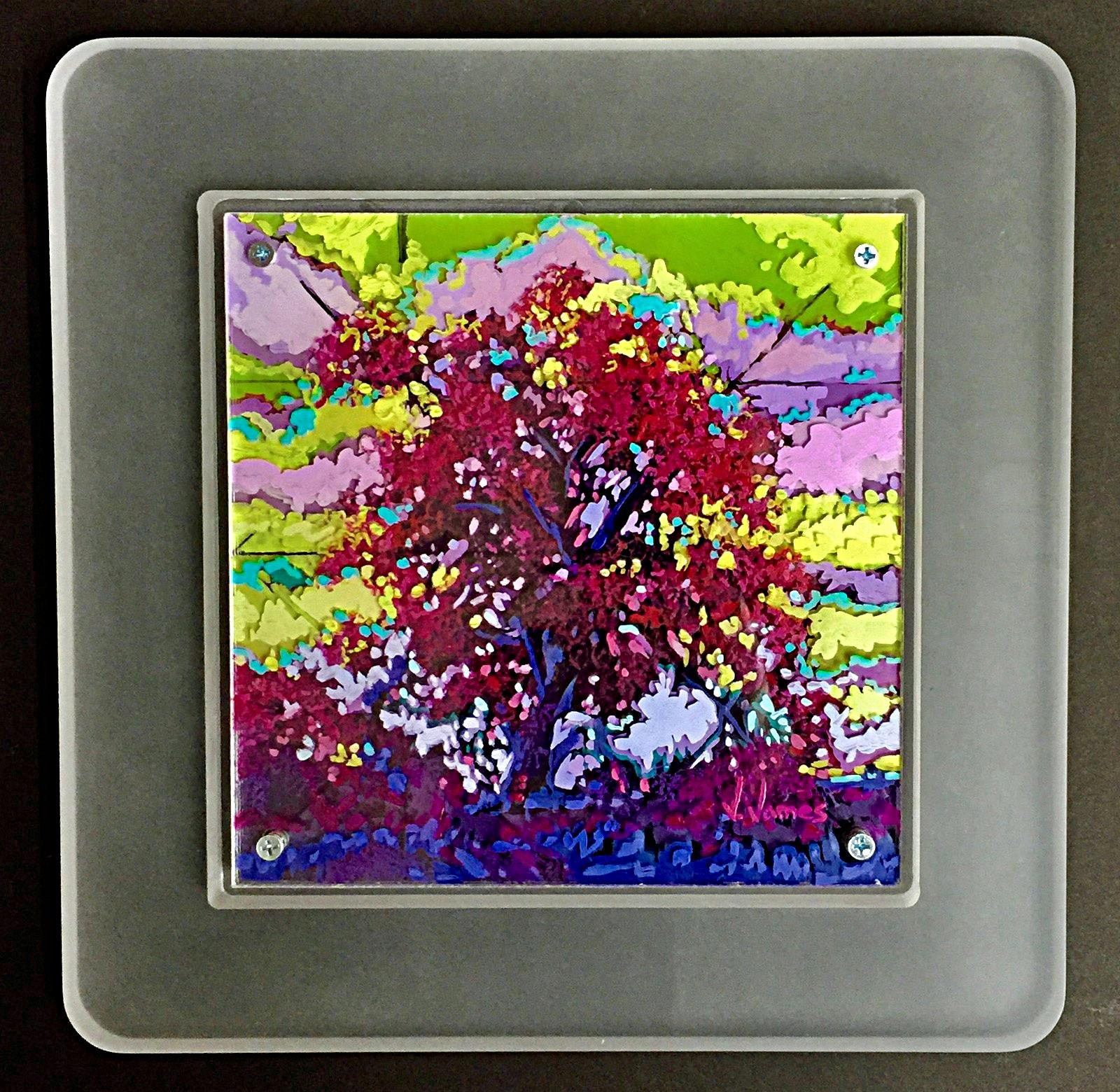 "Southern Juniper, 8"" x 8"" Acrylic on Multi-Layered Acrylic Glass"