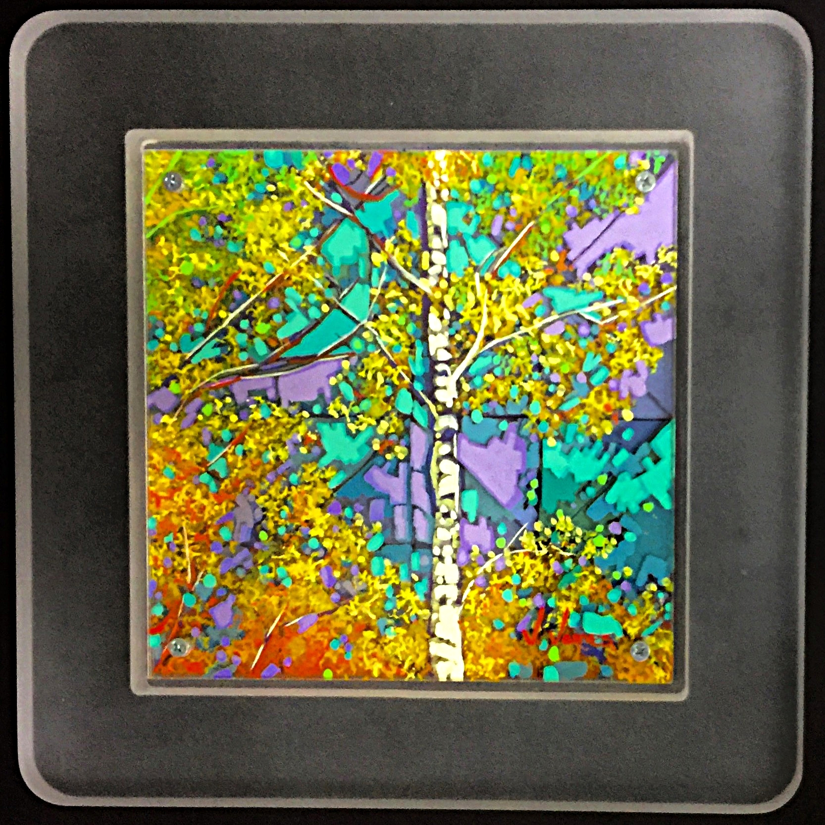"Sun Dance, 8"" x 8"" Acrylic on Multi-Layered Acrylic Glass"