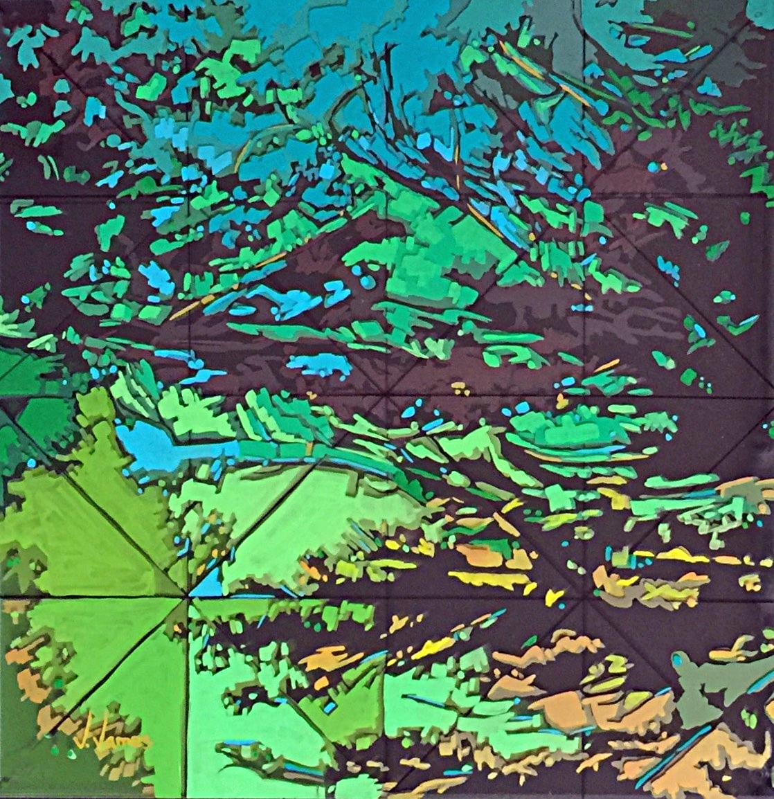 "Robin's Egg, 16"" x 16"" Acrylic on Multi-Layered Acrylic Glass"