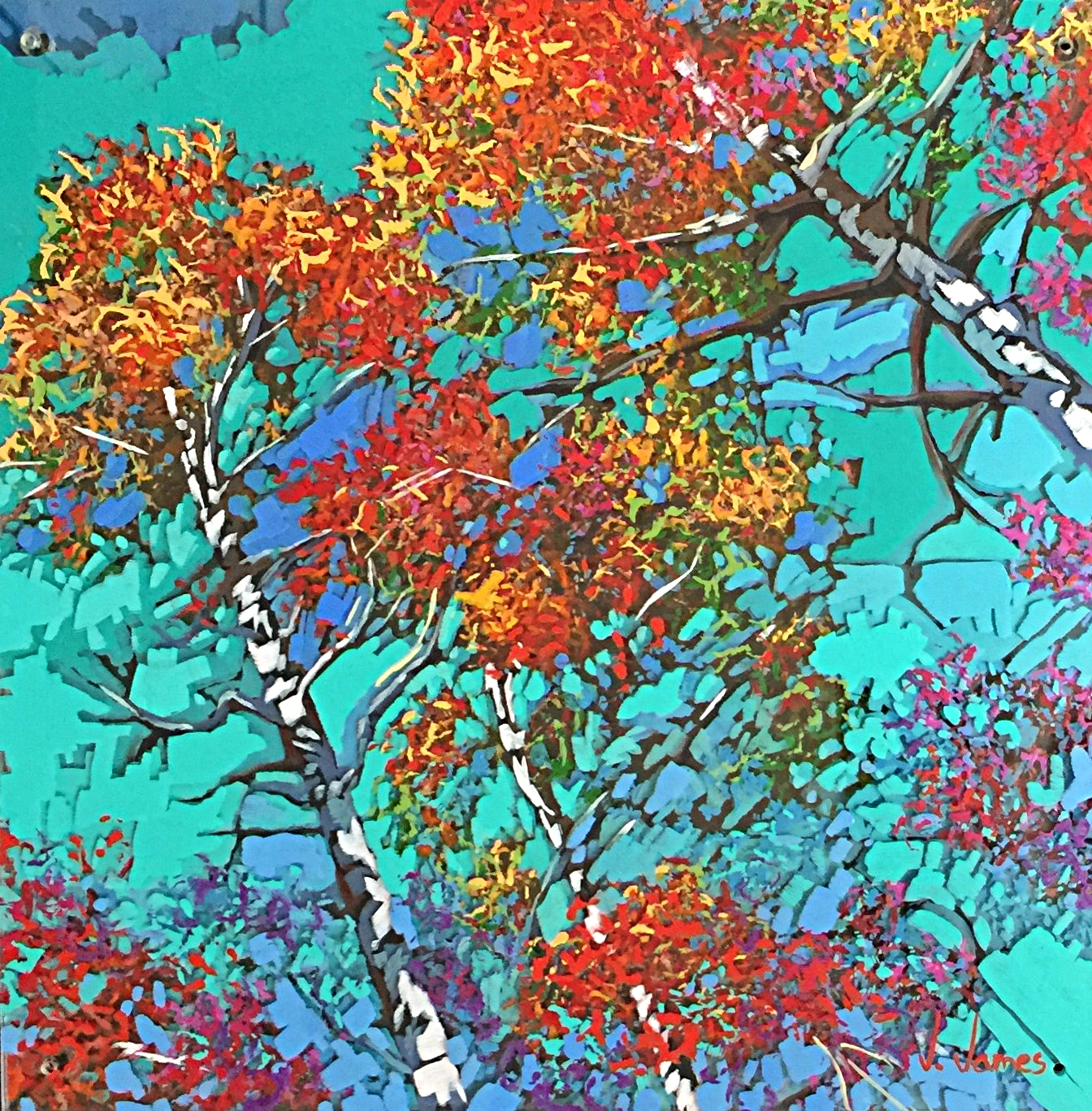 """Bedazzled By Fall, 12"""" x 12 Acrylic on Multi-Layered Acrylic Glass"""