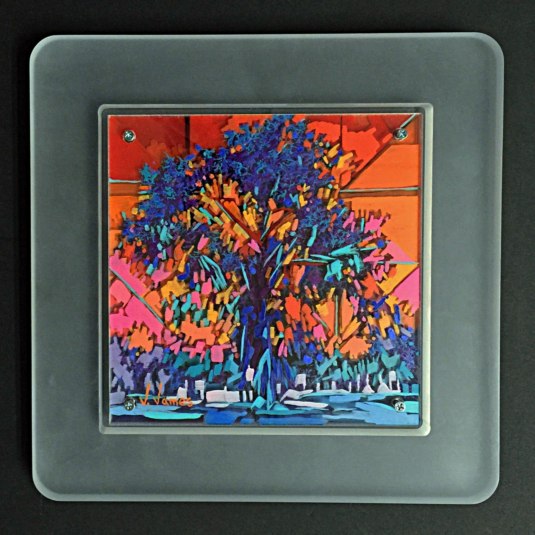 "Tangerine Sky, 8"" x 8"" Acrylic on Multi-Layered Acrylic Glass"