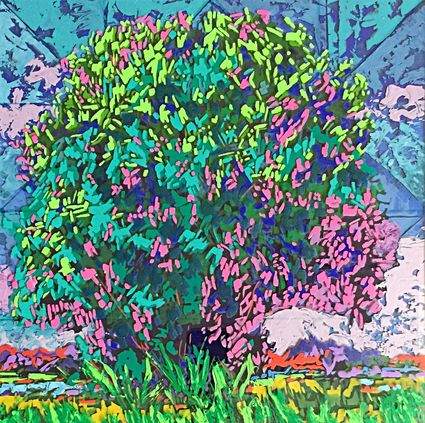 "Summer's Dream, 16"" x 16"" Acrylic on Multi-Layered Acrylic Glass"