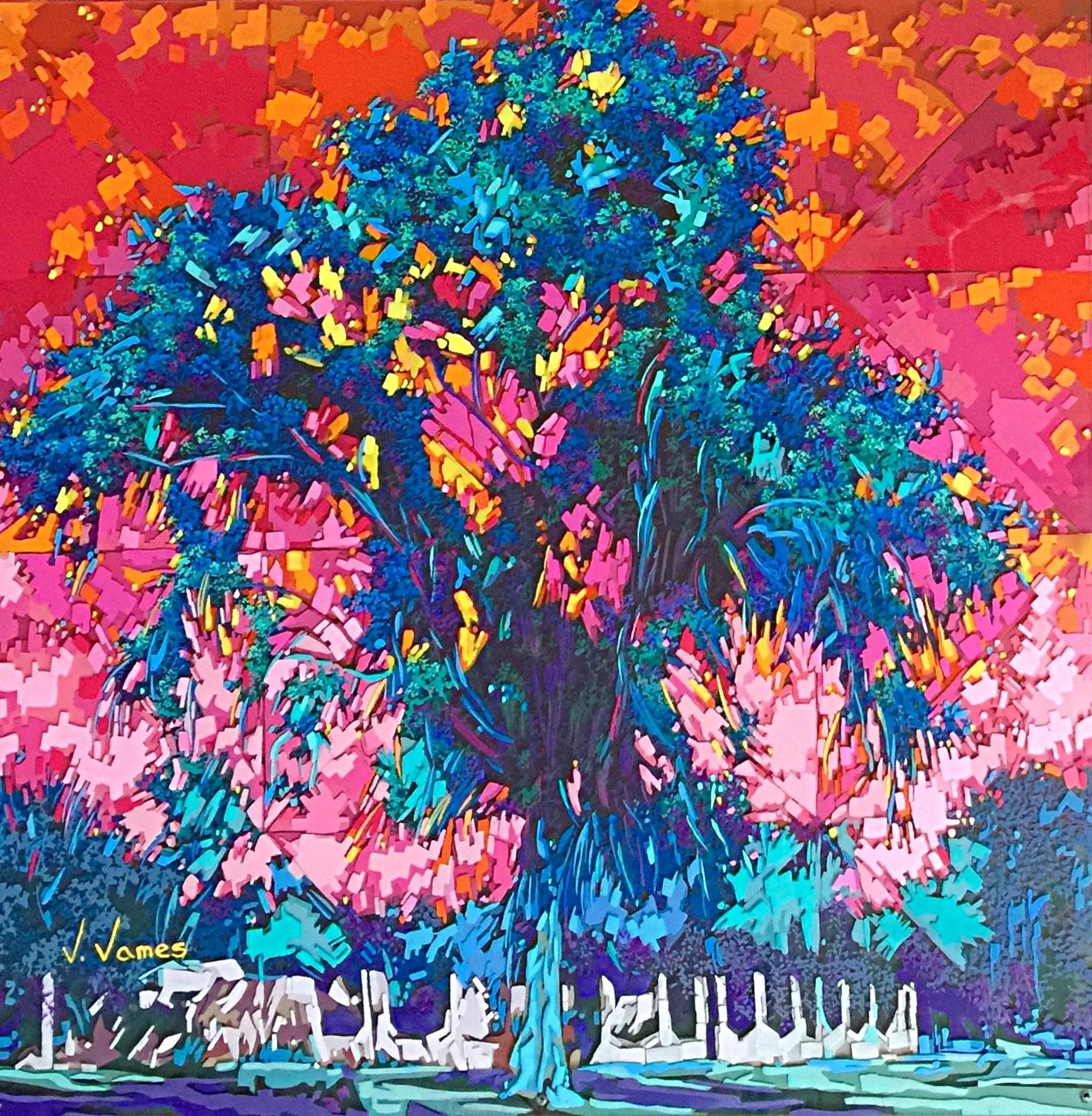 """Truffula Tree, 30"""" x 30"""" Acrylic on Multi-Layered Acrylic Glass"""
