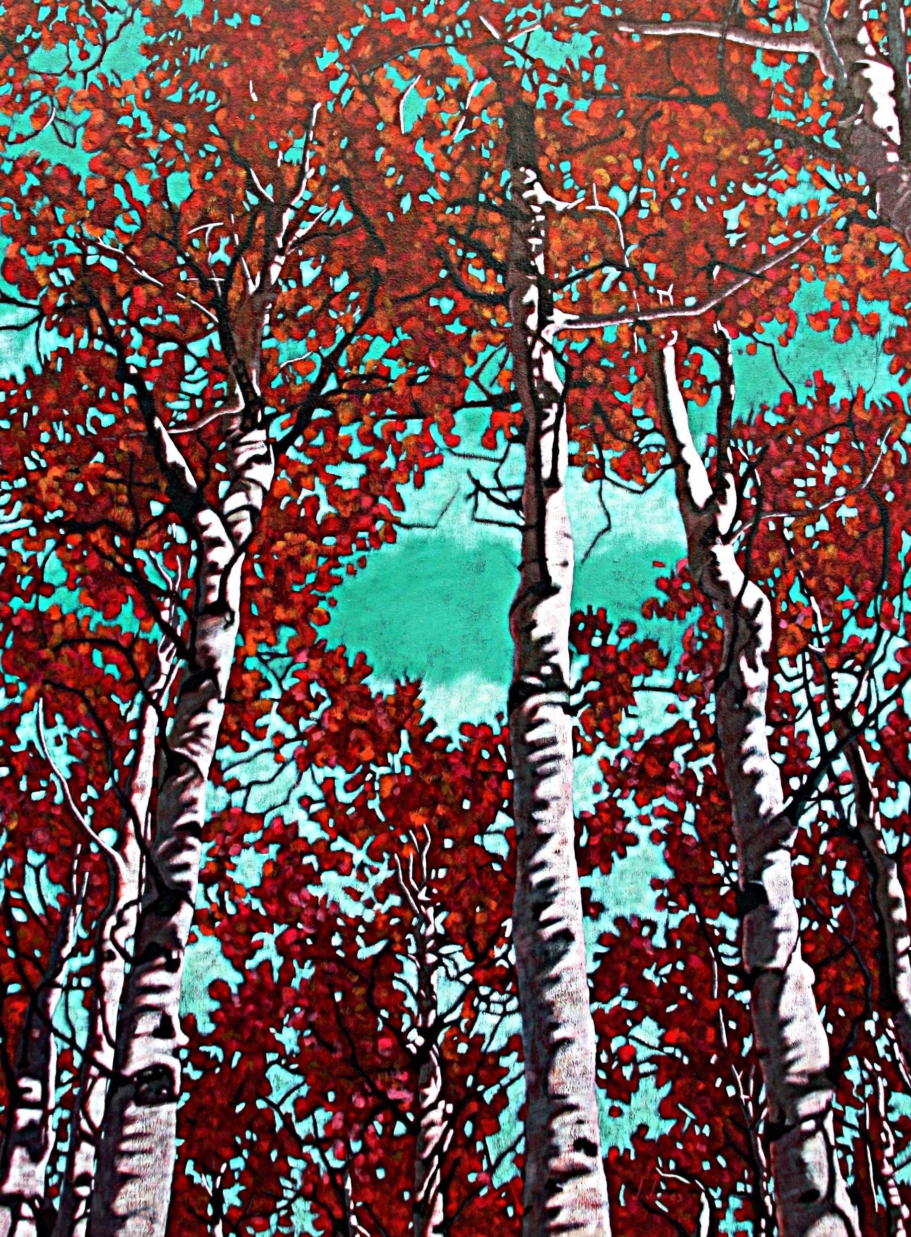 """Trees Amigos, 48"""" x 36"""" Oil on Canvas"""