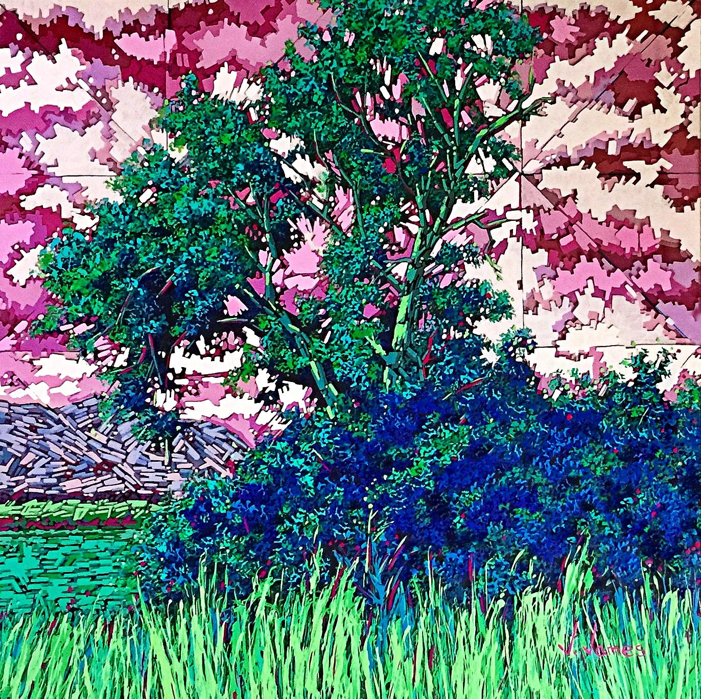 "Watermelon Skies, 24"" x 24"" Acrylic on Multi-Panel Acrylic Glass"