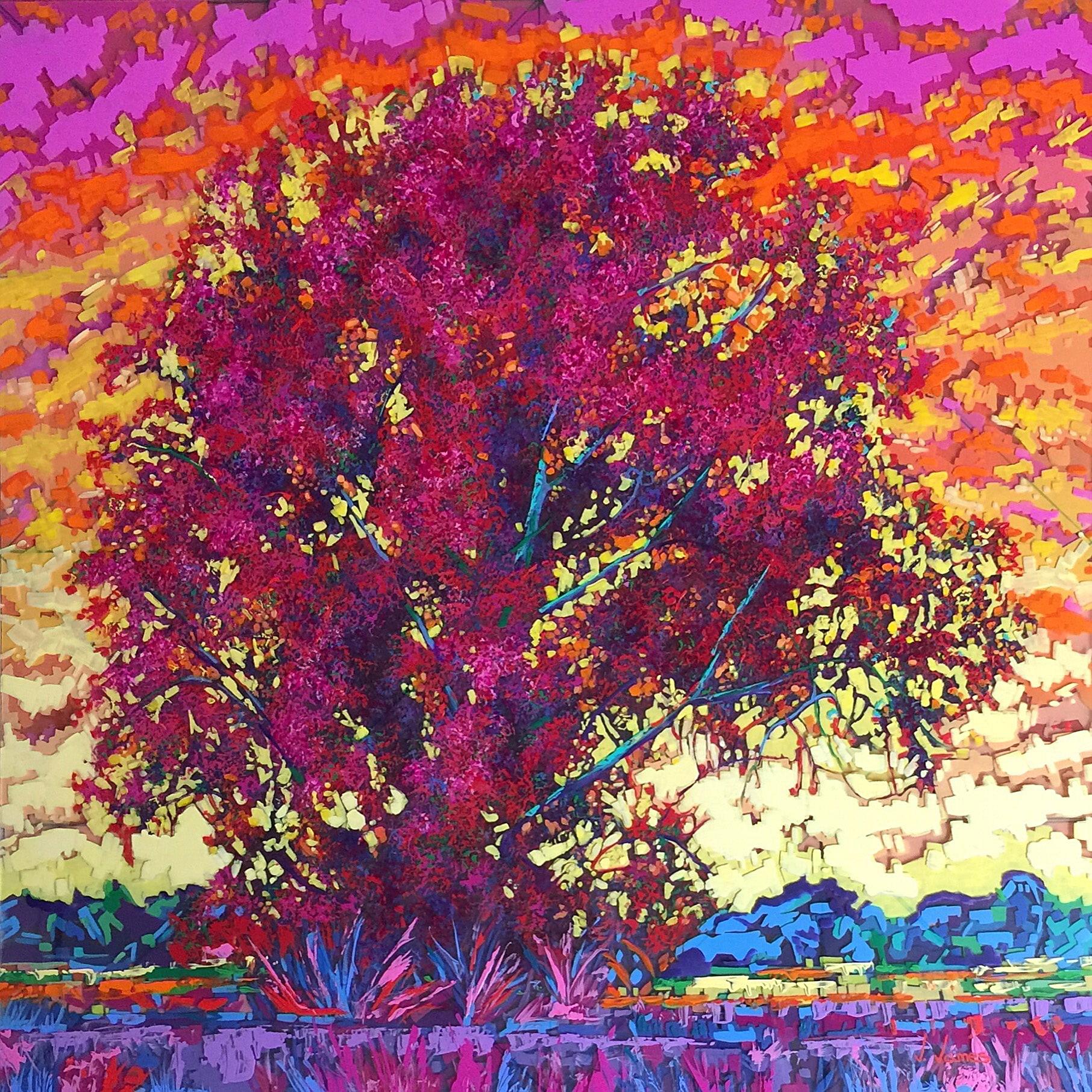 "My Mimosa, 36"" x 36"" Acrylic on Multi-Layered Acrylic"