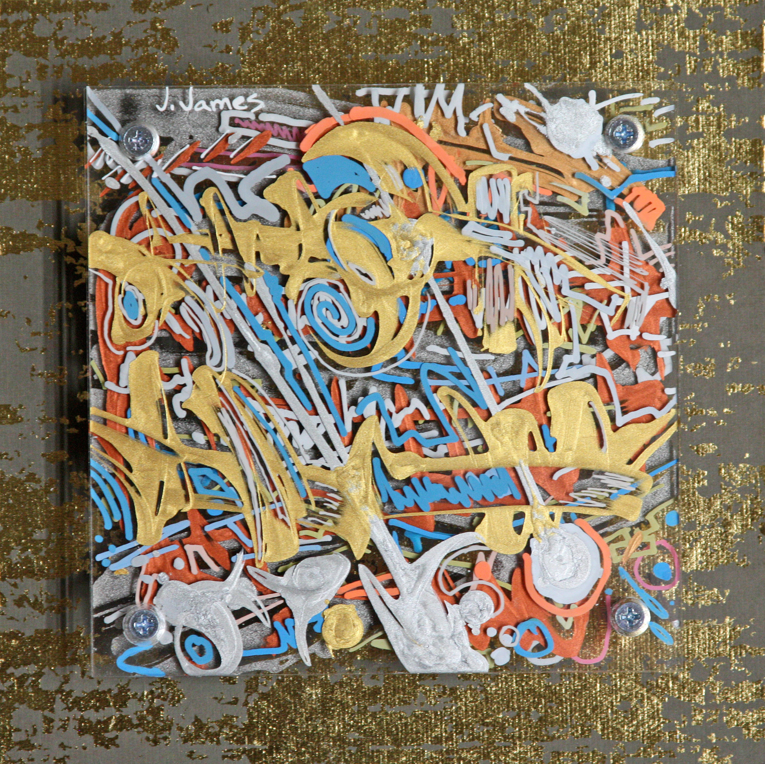 "Gold Dust, 8"" x 8"" Mixed Media and Acrylic on Multi-Panel Acrylic"