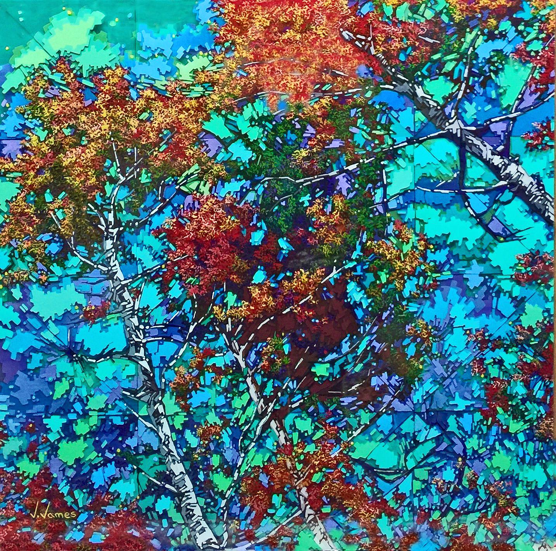 """Fall Chimes, 29"""" x 29"""" Acrylic on Multi-Layered Acrylic Glass"""