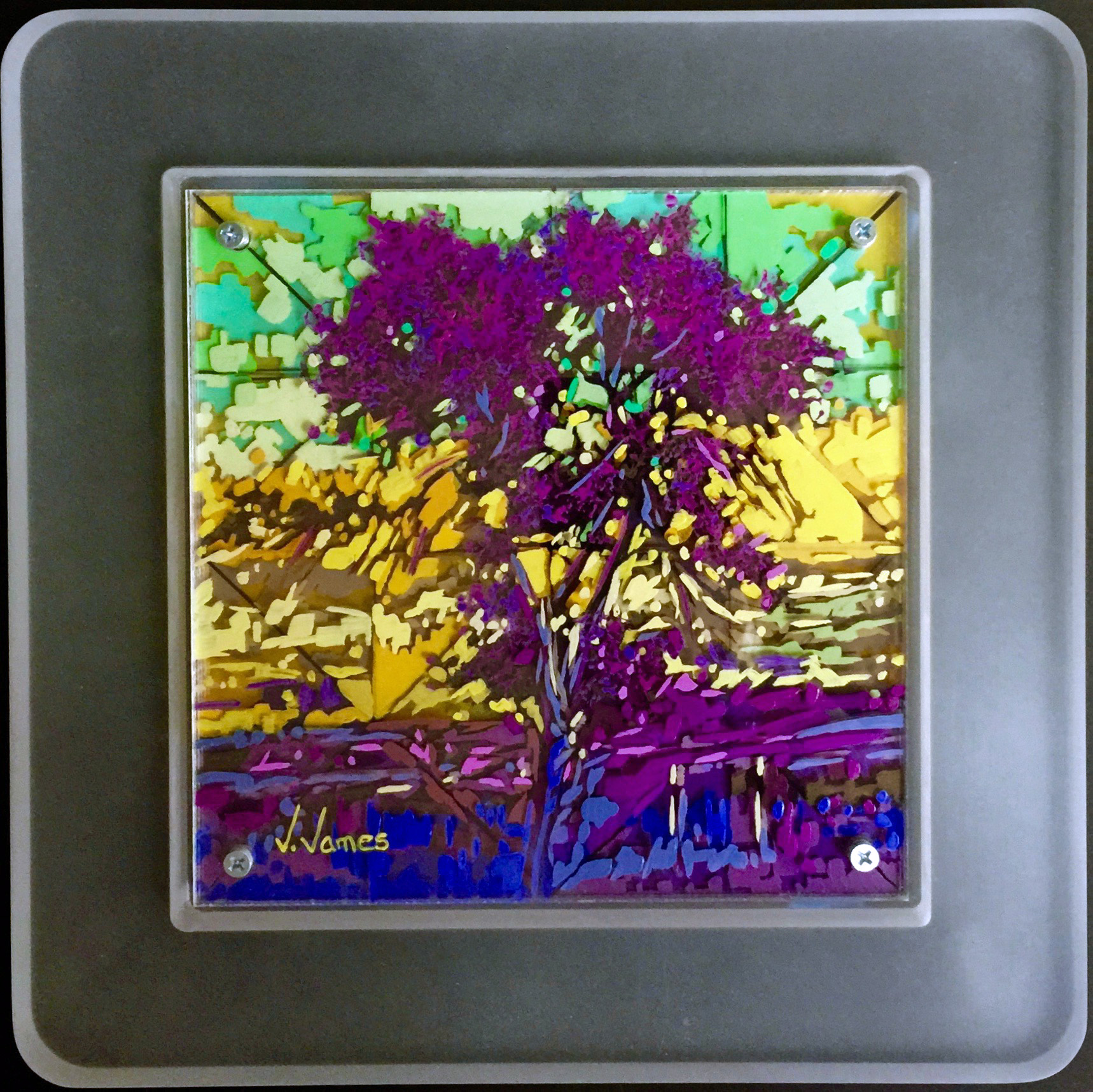 """I Saw Her In A Dream, 8"""" x 8"""" Acrylic on Multi-Layered Acrylic Glass"""