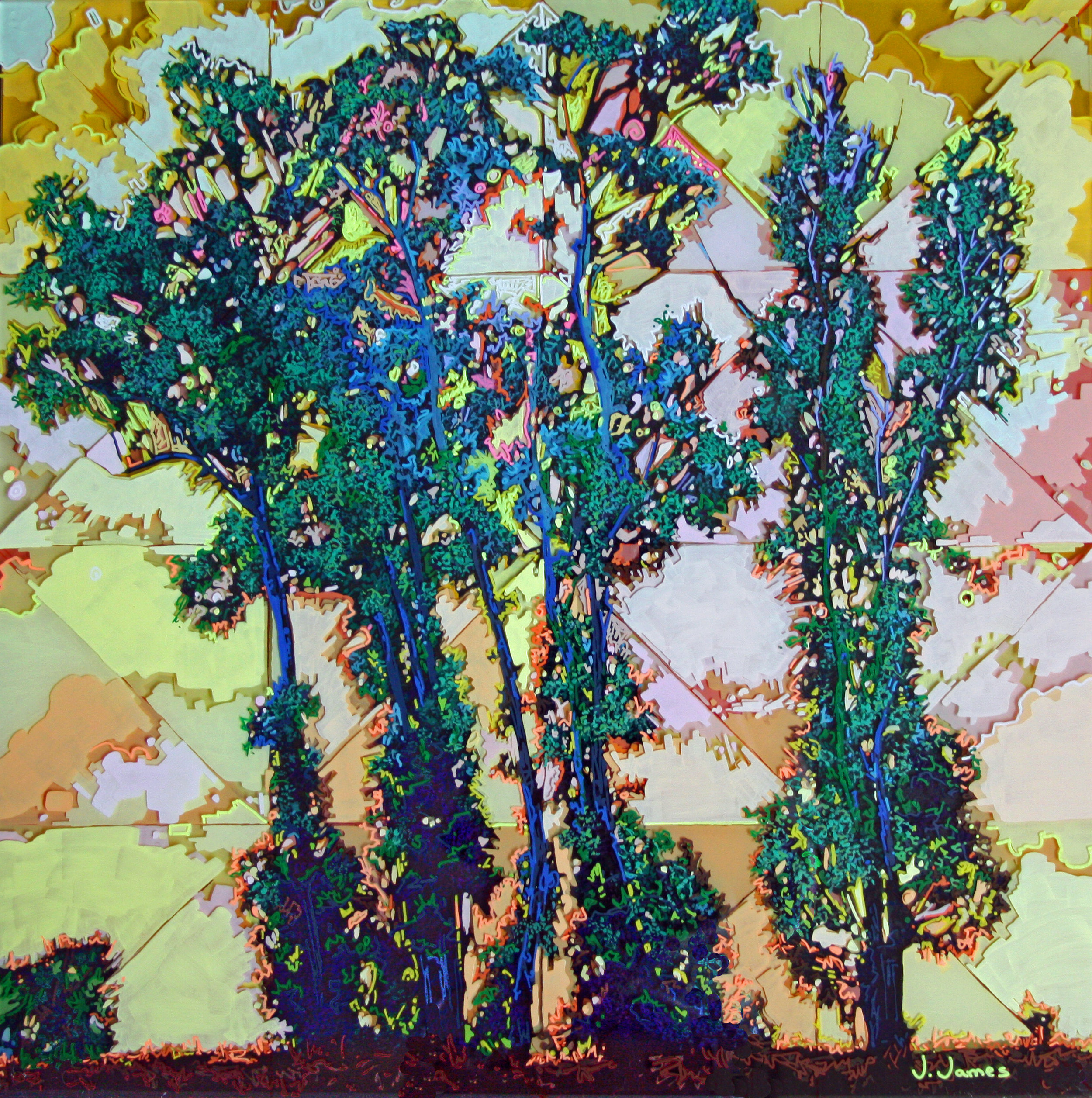 """Gate To Grand Cru""©, 24"" x 24"" Acrylic on Multi-Panel Acrylic"