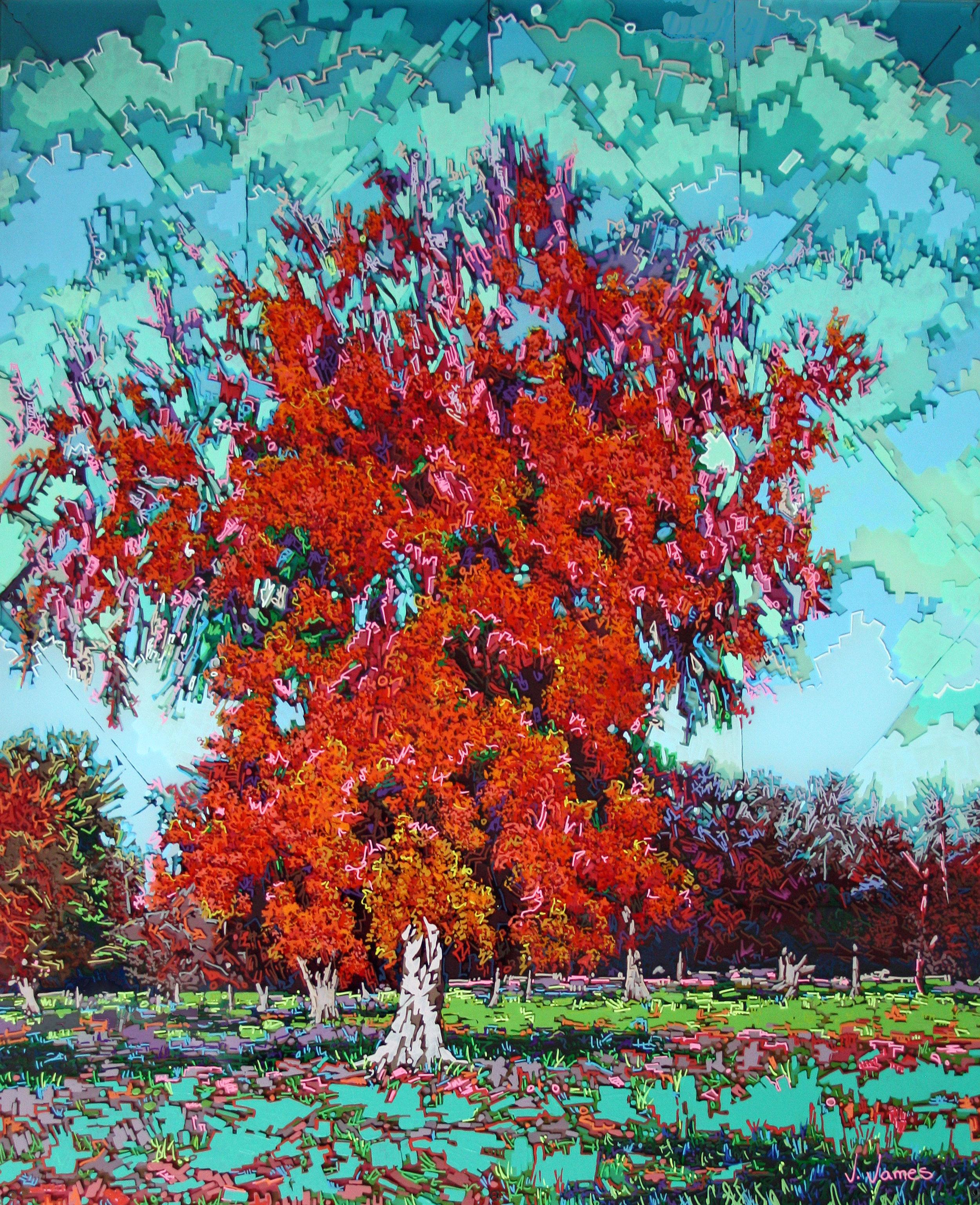 """Song Birds""©, 32"" x 26"" Acrylic on Multi-Panel Acrylic"