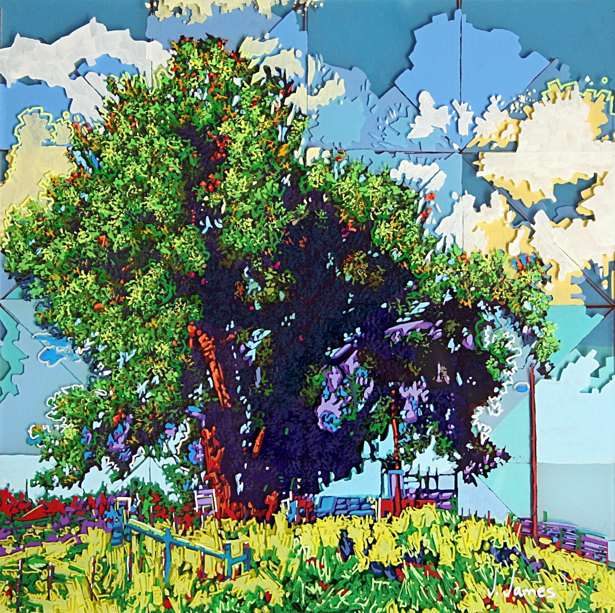 "Fall Days. Summer Skies., 15"" x 15"" Acrylic on Multi-Panel Acrylic Glass"