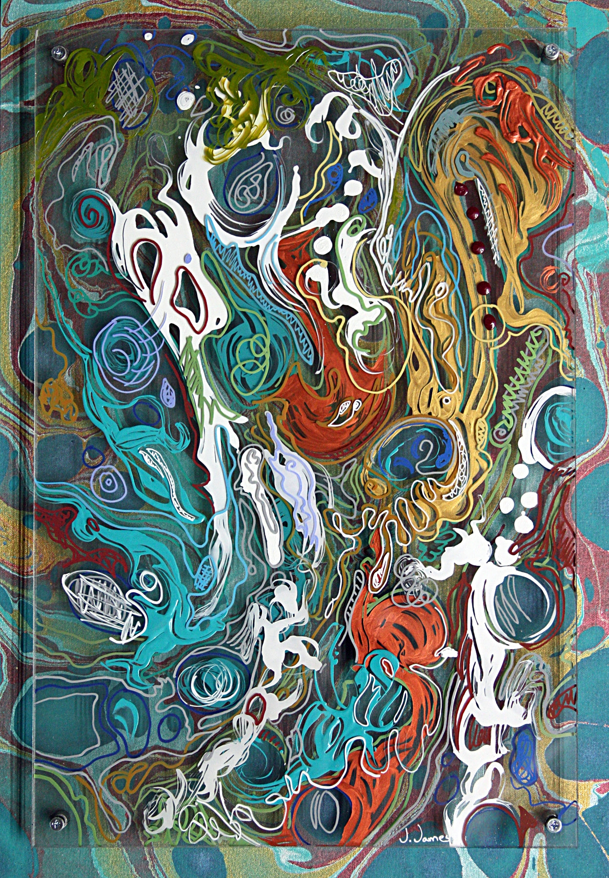 "Ebb and Flow, 21"" x 14.5"" Mixed Media Acrylic on Multi Panel Acrylic"