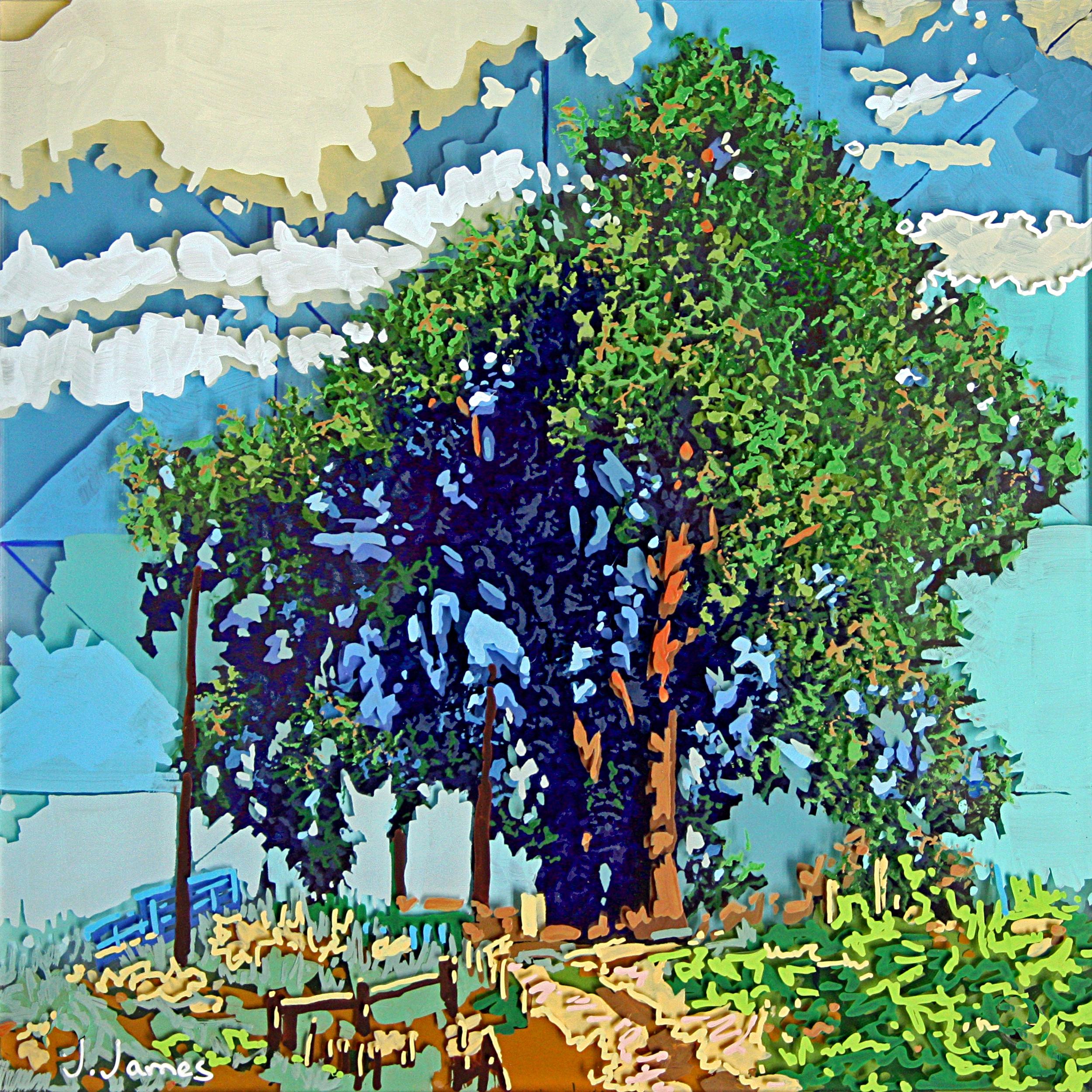 "Paradise, 8"" x 8"" Acrylic on Multi-Panel Acrylic Glass"