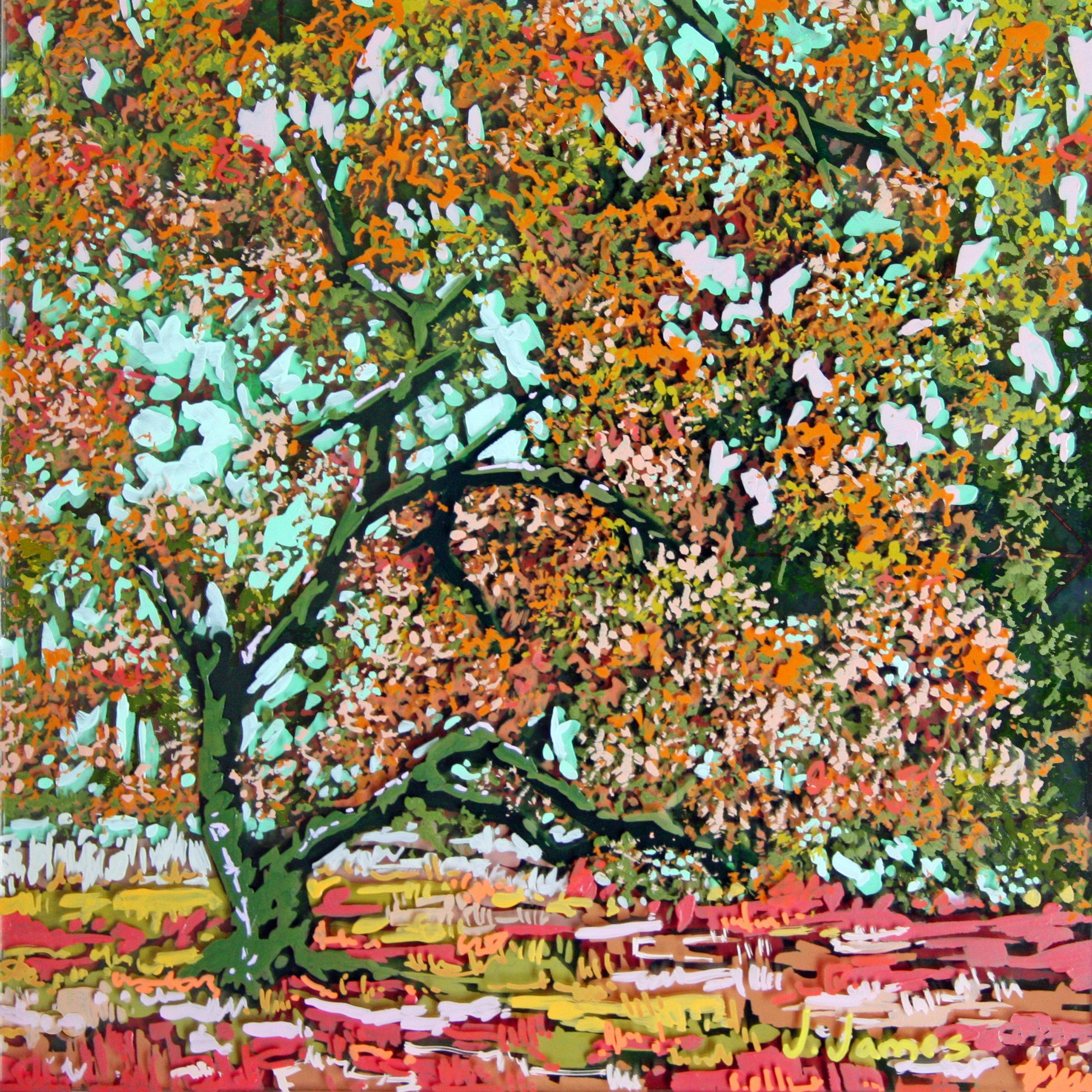 "October Sky, 8"" x 8"" Acrylic on Multi-Panel Acrylic Glass"