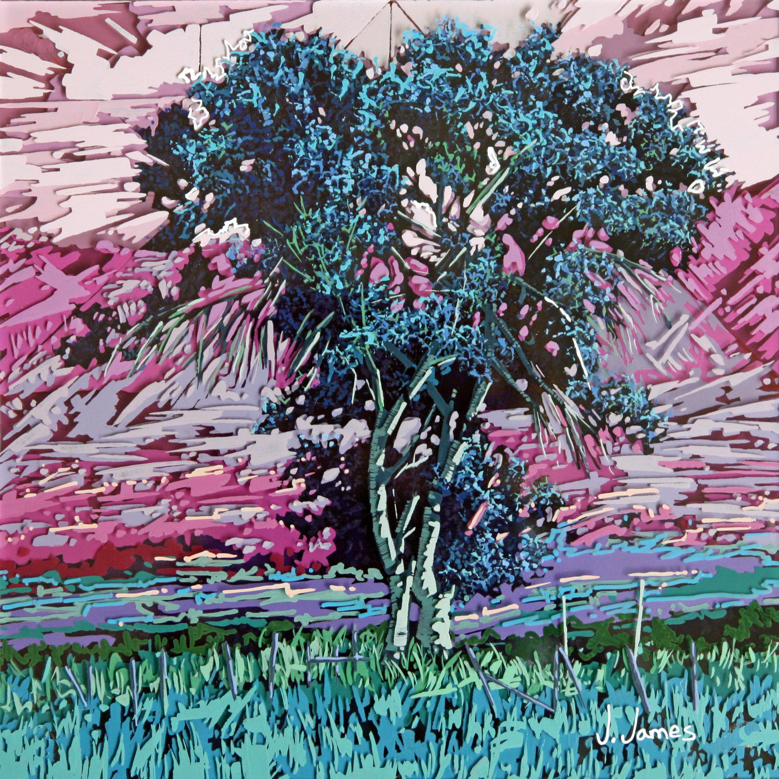 "Rooster, 9.5"" x 9.5"" Acrylic on Multi-Panel Acrylic Glass"