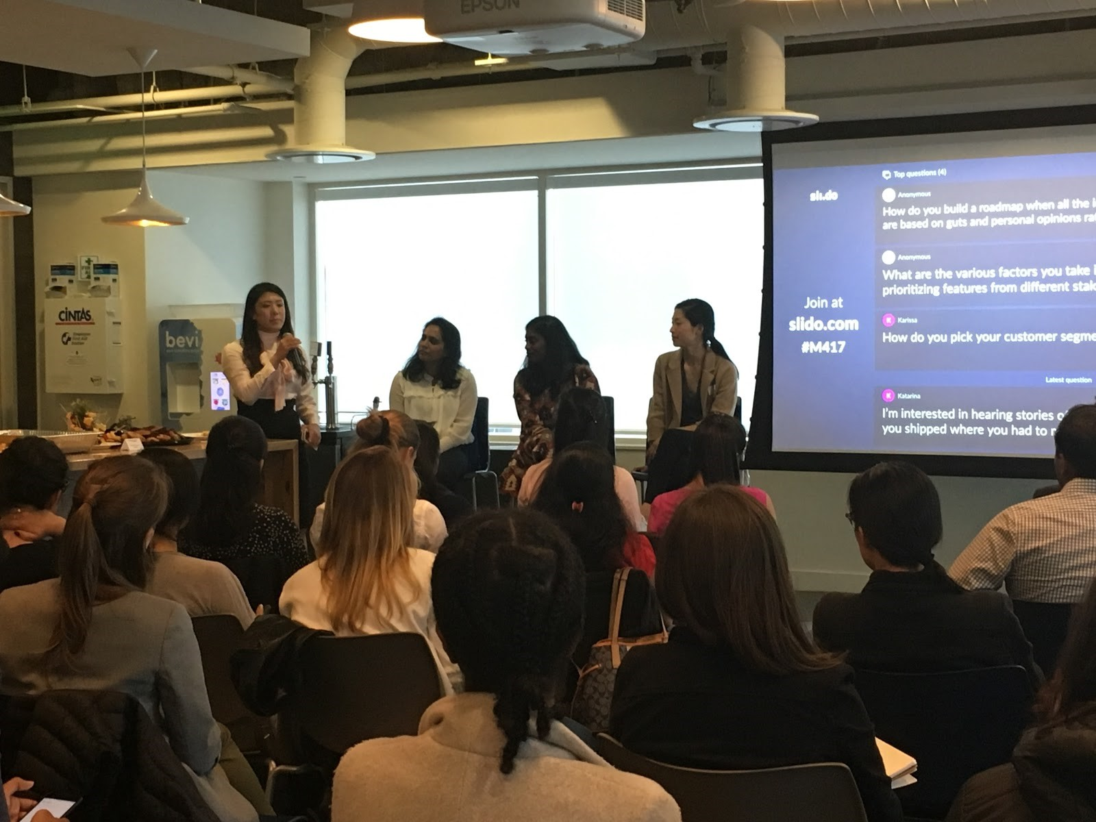 Nancy Wang, Founder & CEO of Advancing Women in Product (AWIP), moderates a panel of product leaders from Workday, Oracle, and Google, discussing best practices of product roadmap creation. Workday SF, July 2018