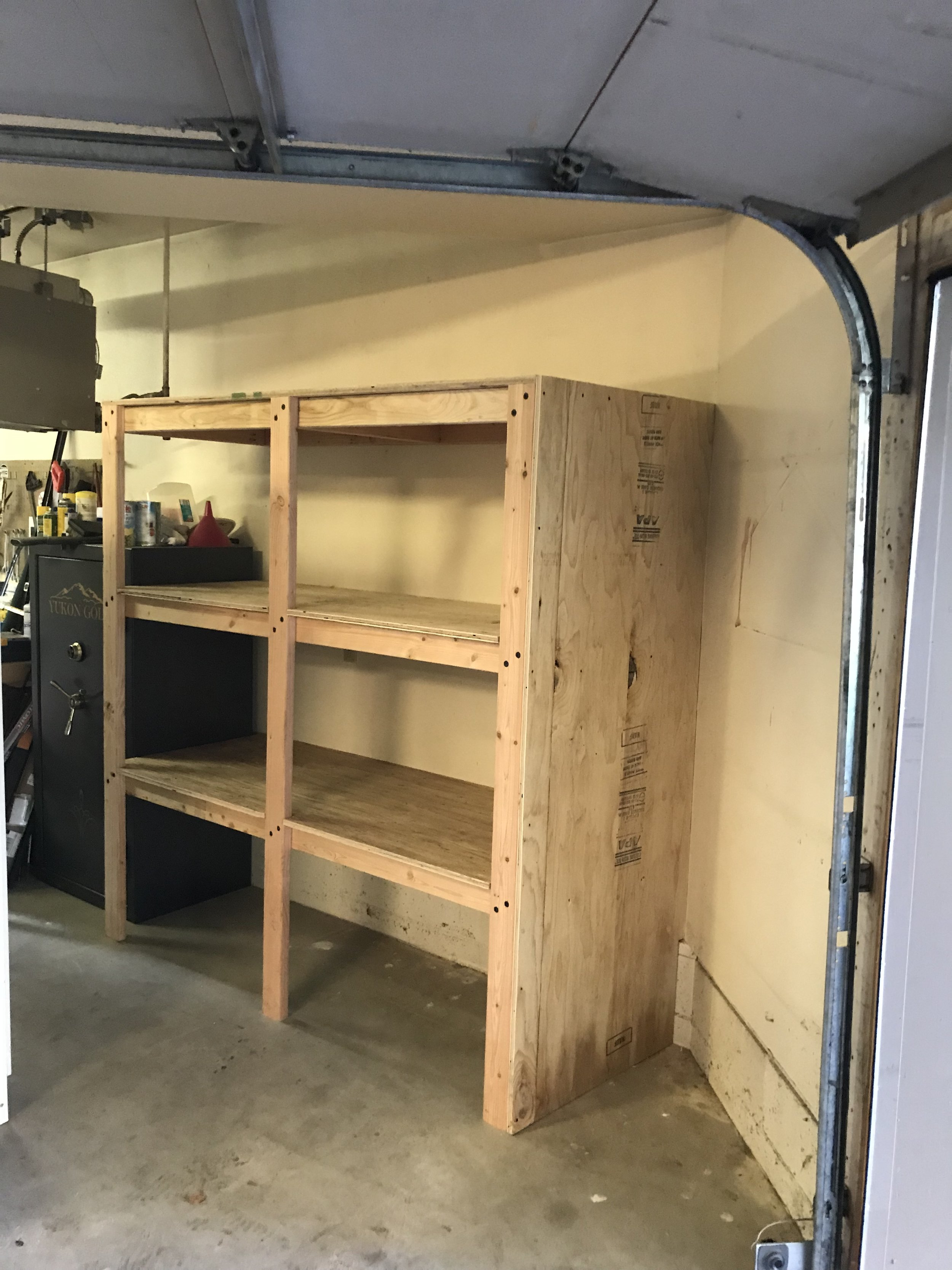 Custom built garage shelving