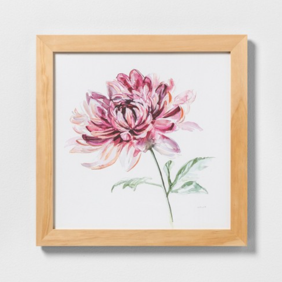 pink flower wall art with frame.PNG