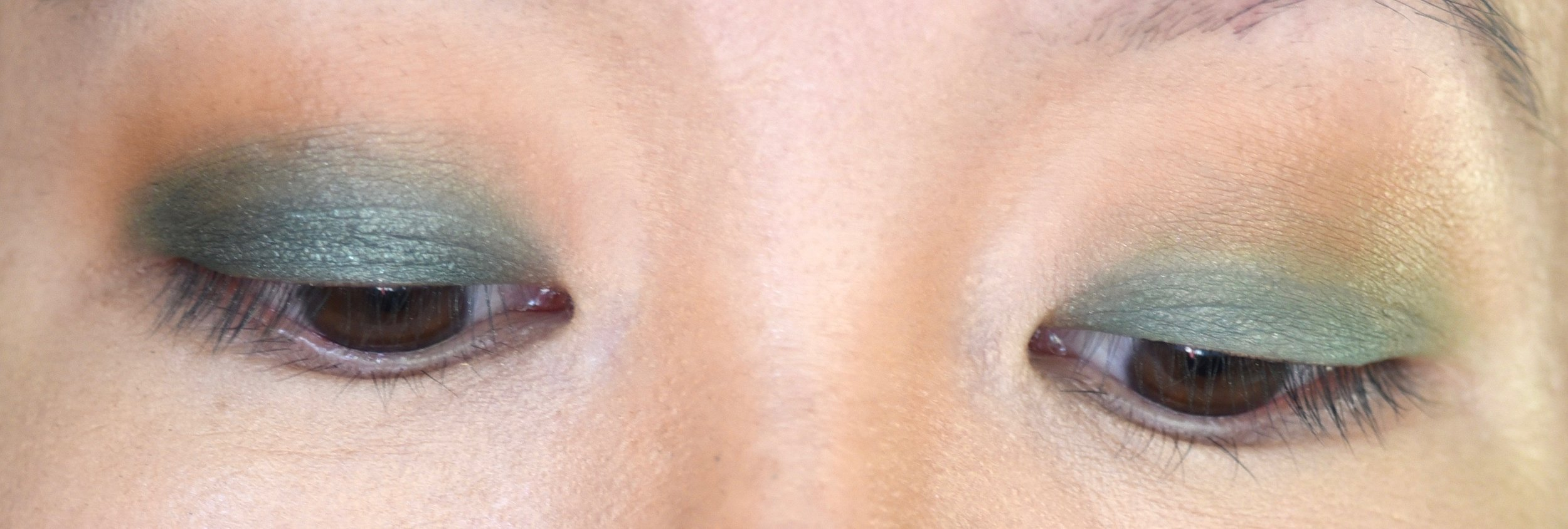 Left eye has shimmer shadow applied vs right