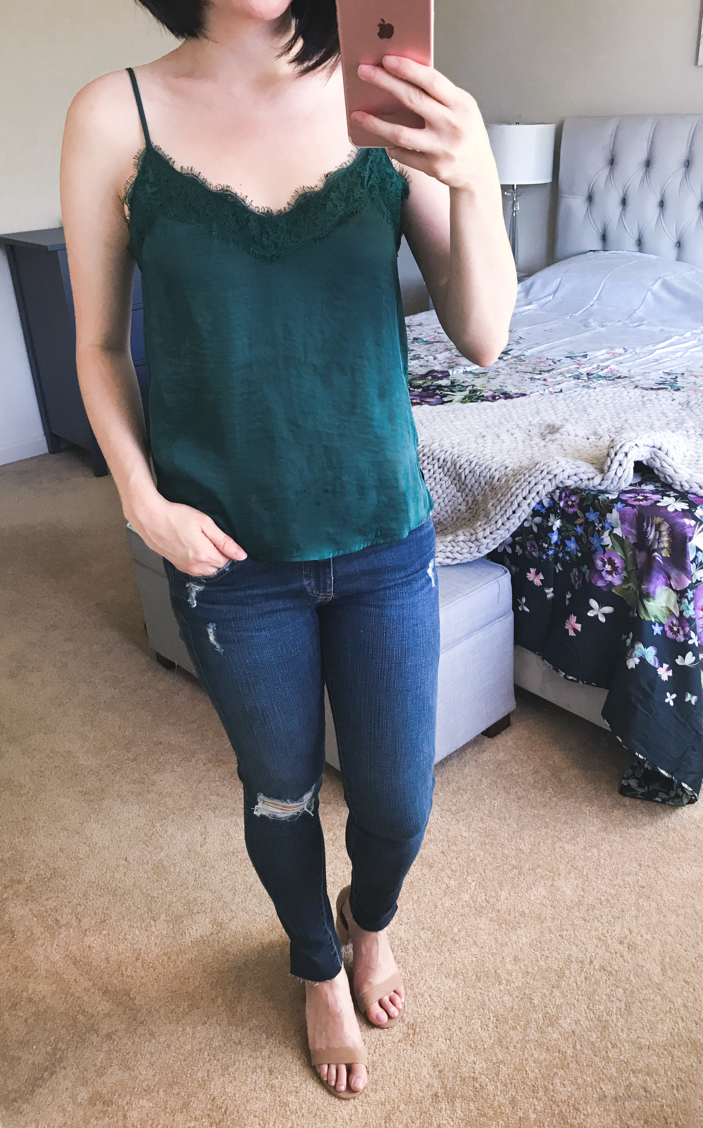 BP. Lace Camisole //AG Ripped Ankle Skinny Jeans -