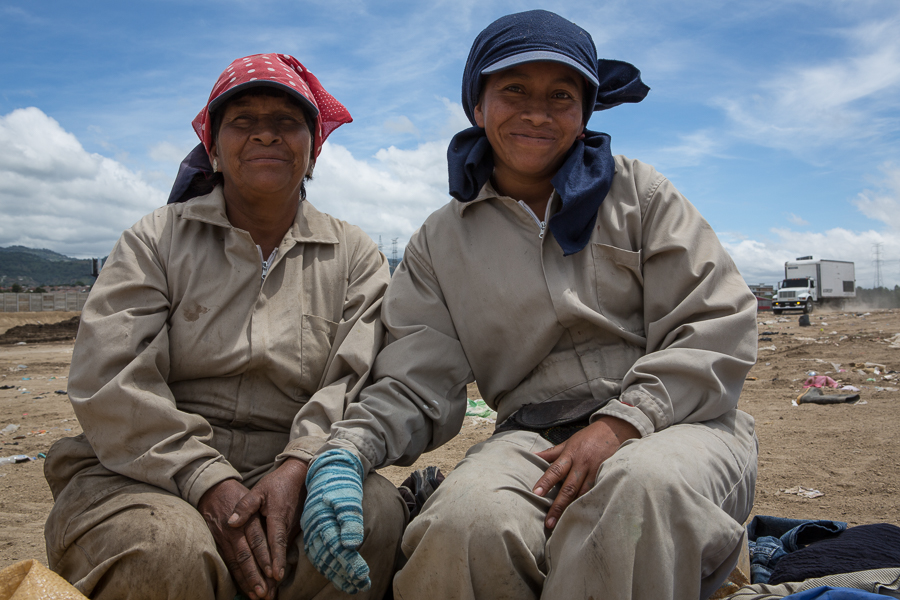 Paula Pocon, age 55, and her daughter Ana Patricia, age 34, have both been working at the AMSA landfill as guajeros or waste pickers, for about 2 years. Both are grateful for the work that supports their families.  ©Cindy Bajema 2014