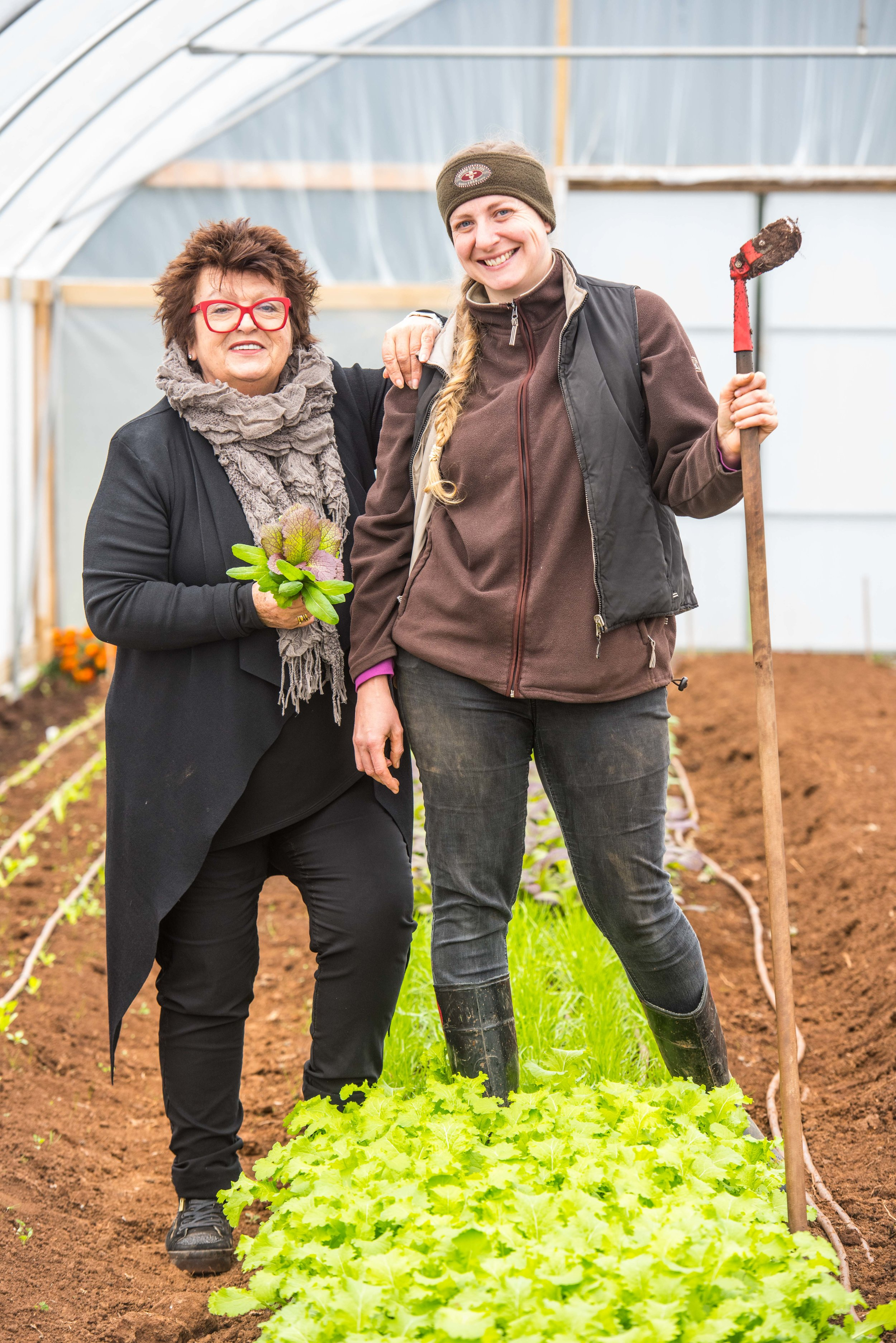 Alla Wolf-Tasker and Jen Pryke at Dairy Flat Farm