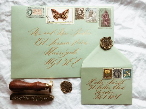 Hand addressed envelopes with wax sealing