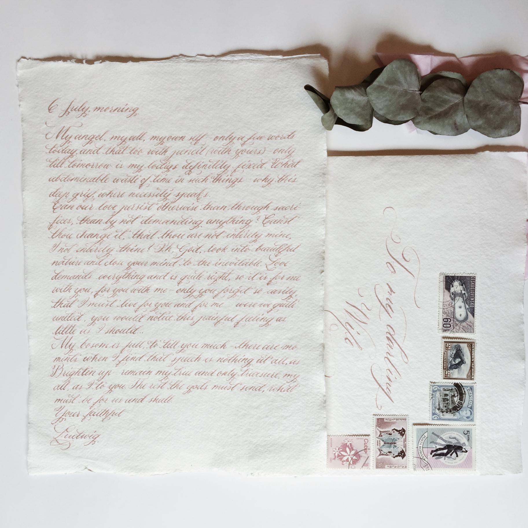 Handwritten love letter with vintage stamped envelope / handmade paper