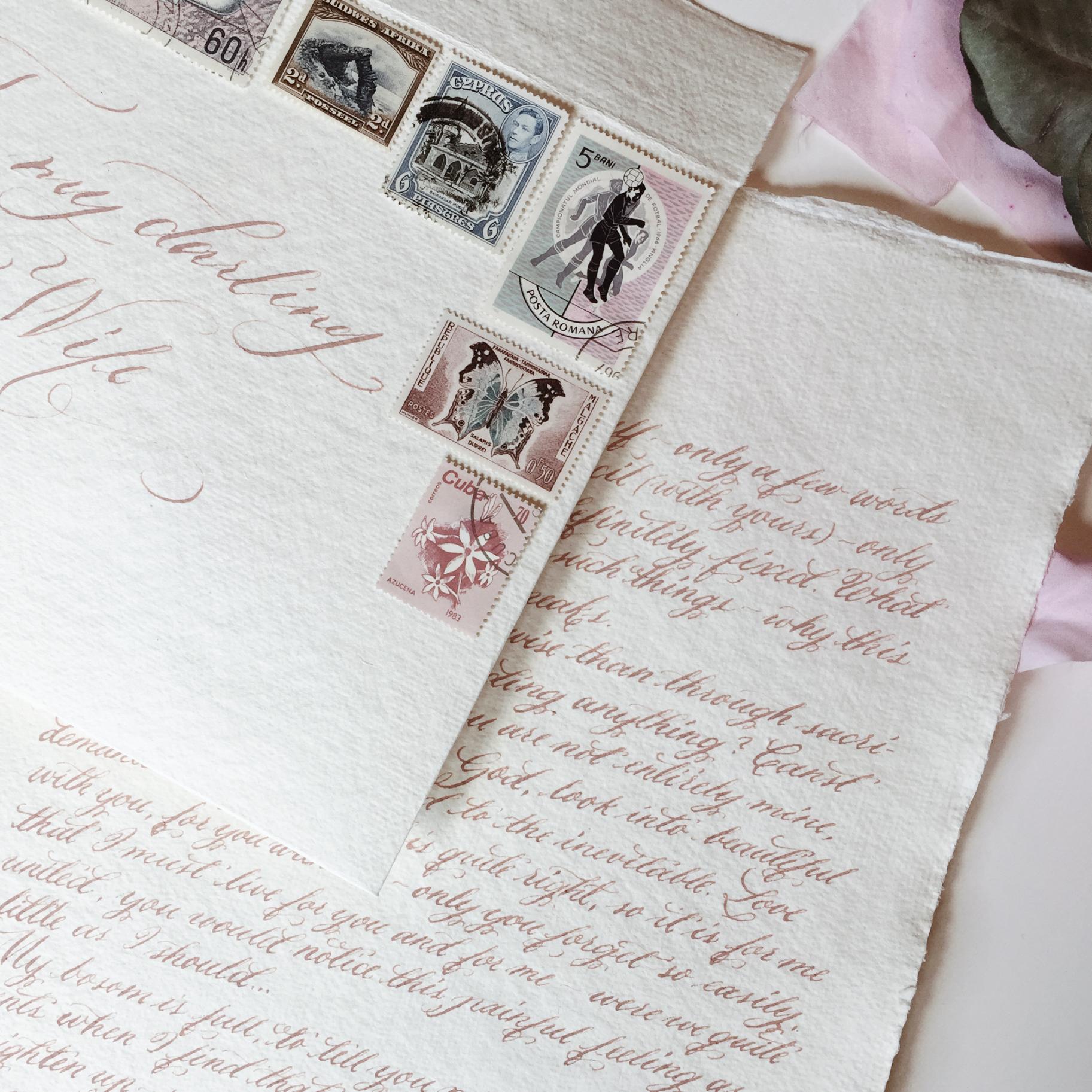 Handwritten love letter / dusty pink ink