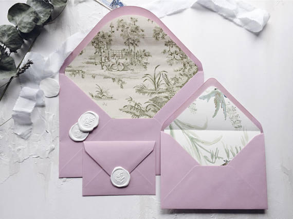 Envelope liners & illustrations - A liner is a beautifully understated way to add an element of surprise and delight to your invitations. Another alternative is a bespoke illustration designed to fit the envelope size and shape.