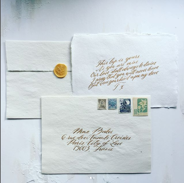 Handmade paper wedding envelopes / calligraphy