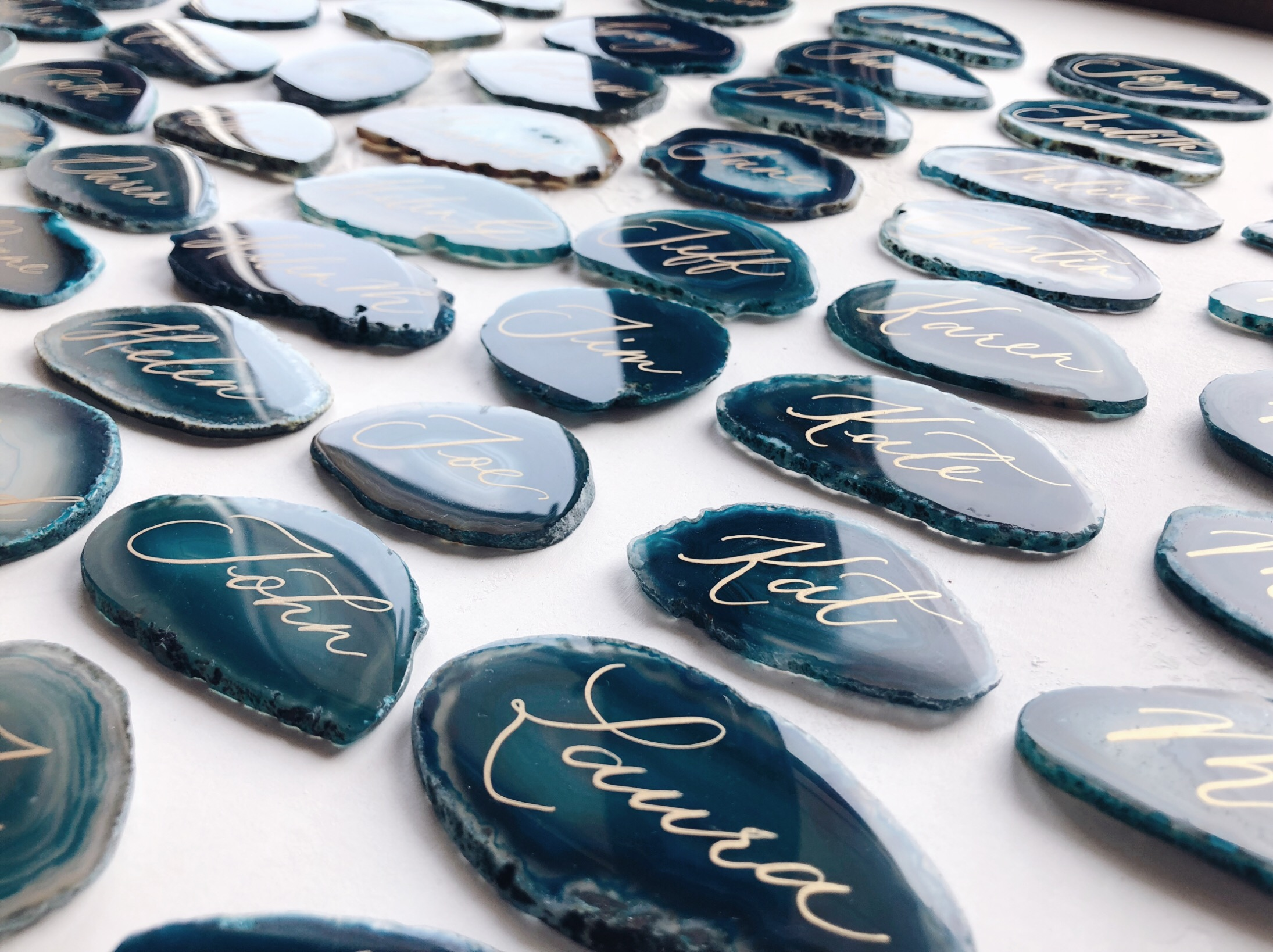 Teal agate with gold calligraphy