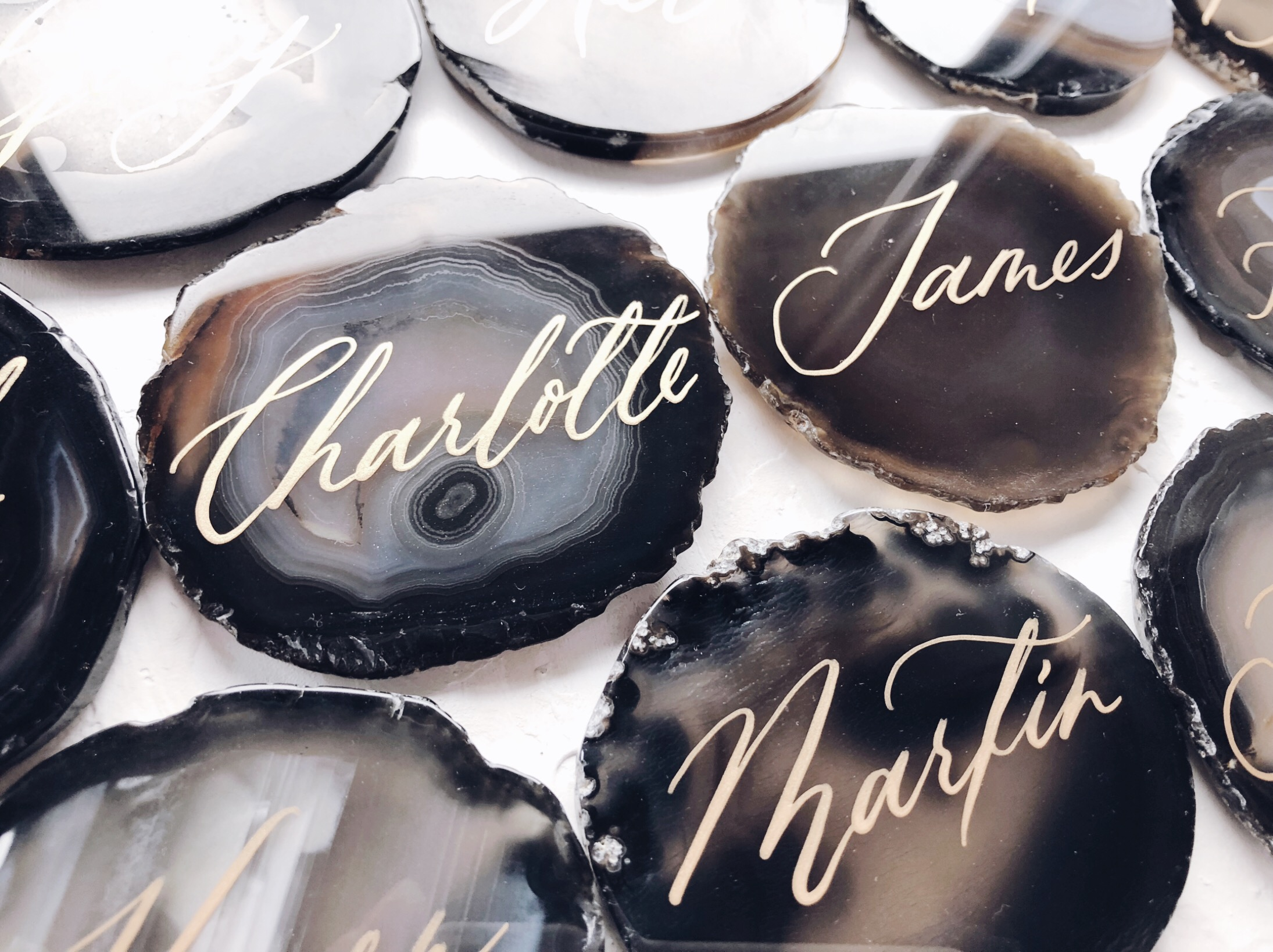 Black agate with gold calligraphy