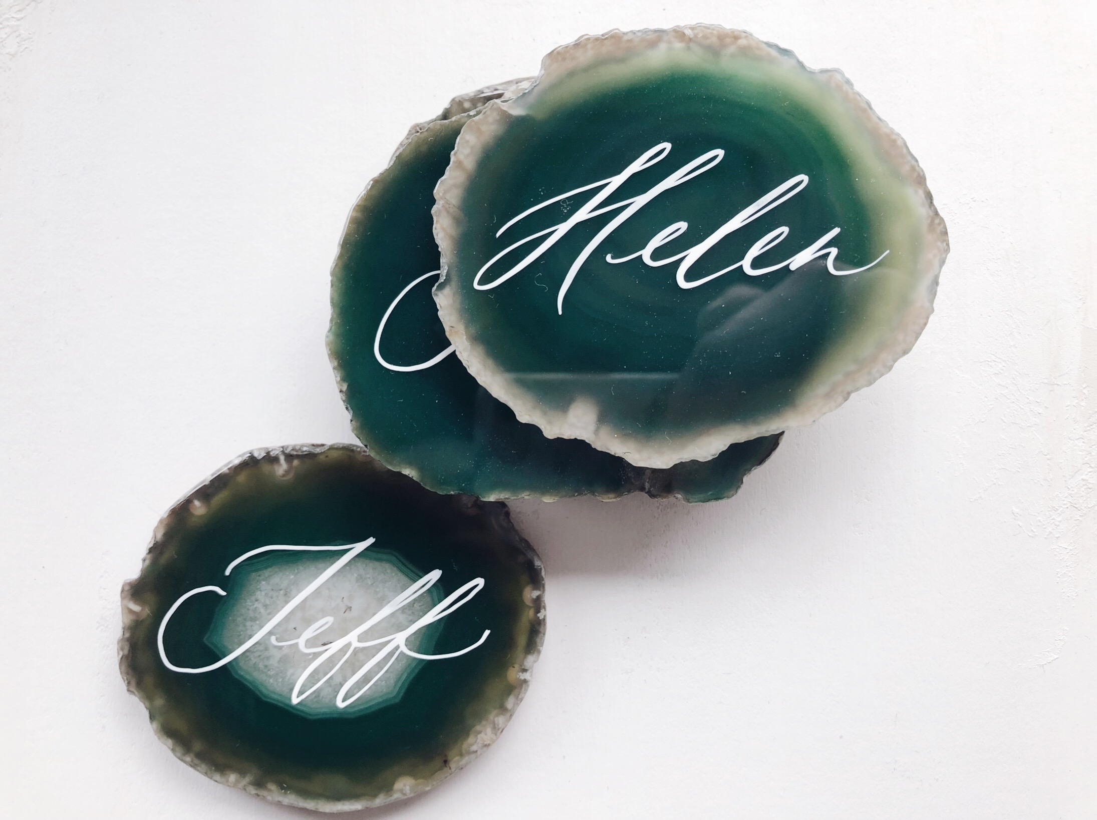 Green agate with white calligraphy