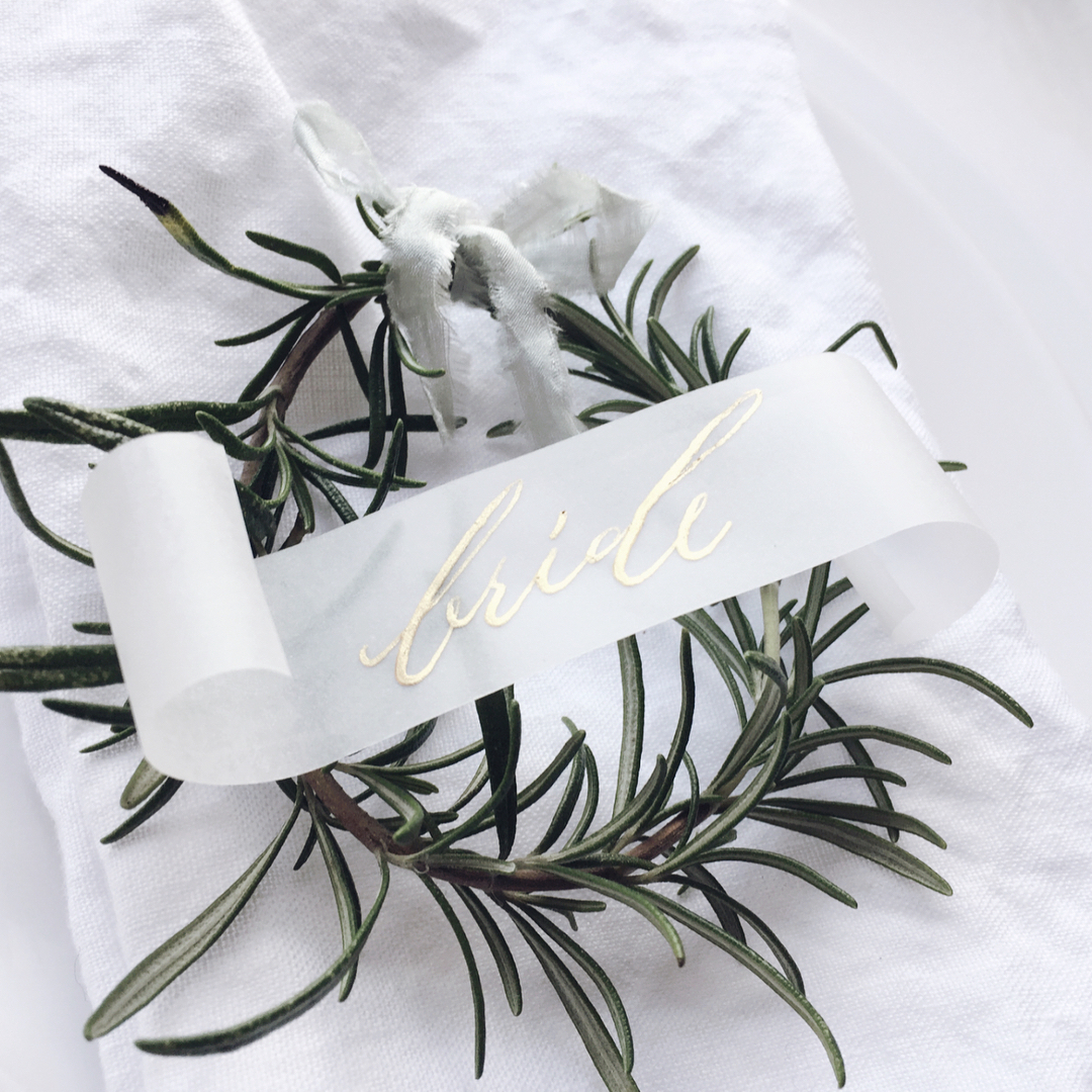 Vellum place card calligraphy