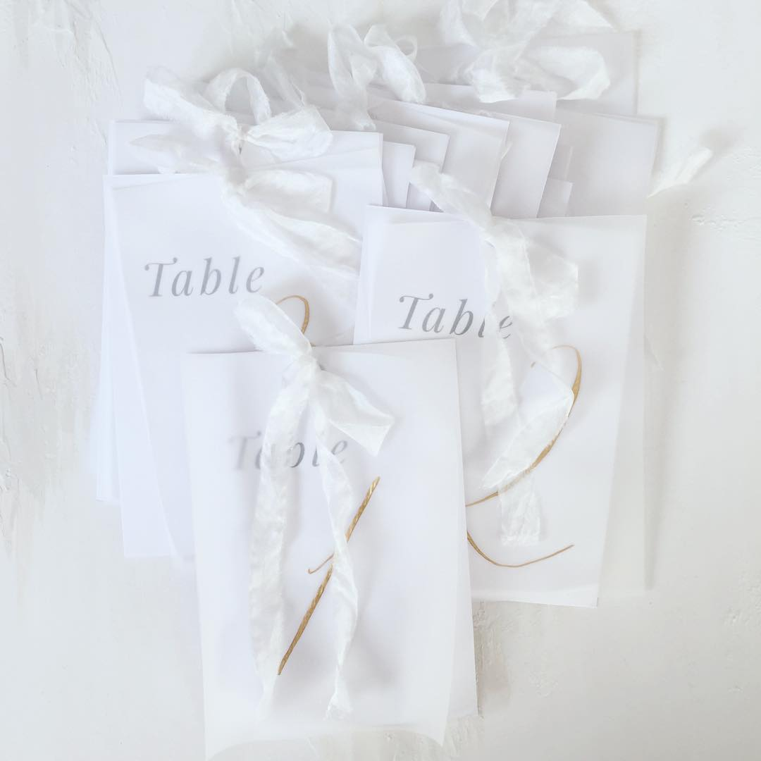 Calligraphy vellum table numbers