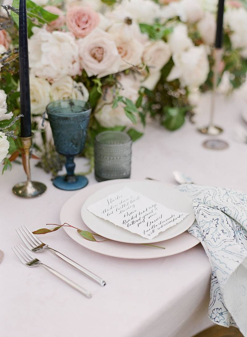 Calligraphy wedding menu