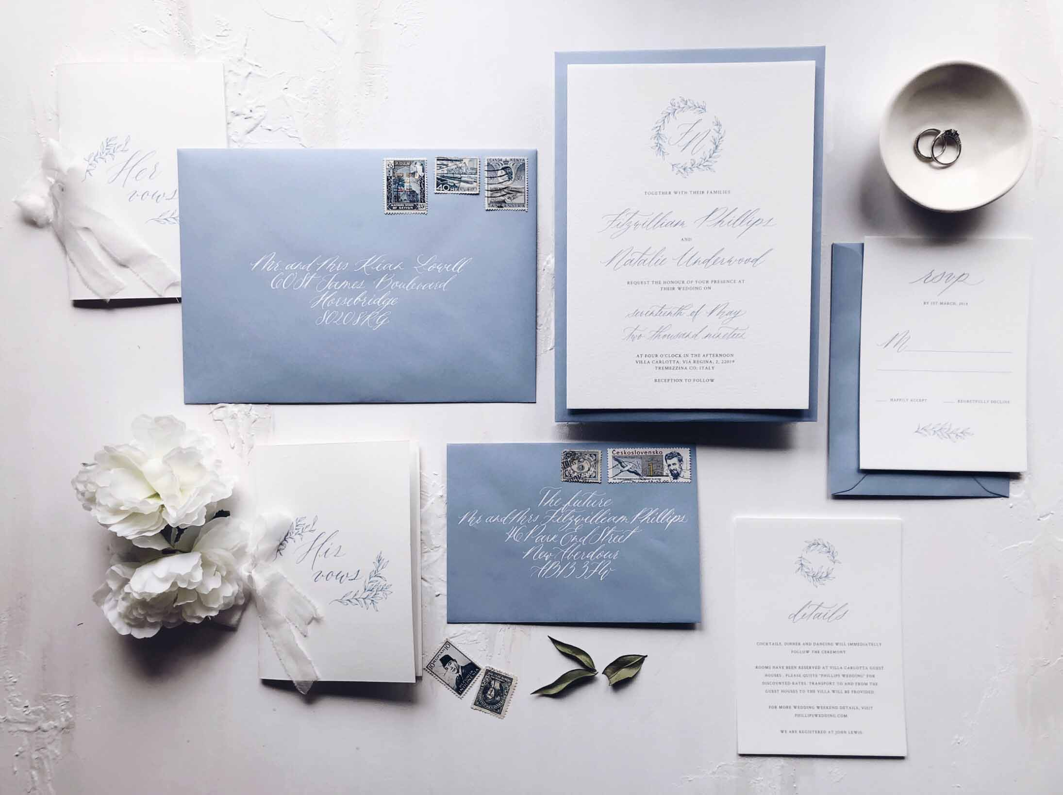 Fine art wedding invitations with hand crafted illustration and calligraphy detail